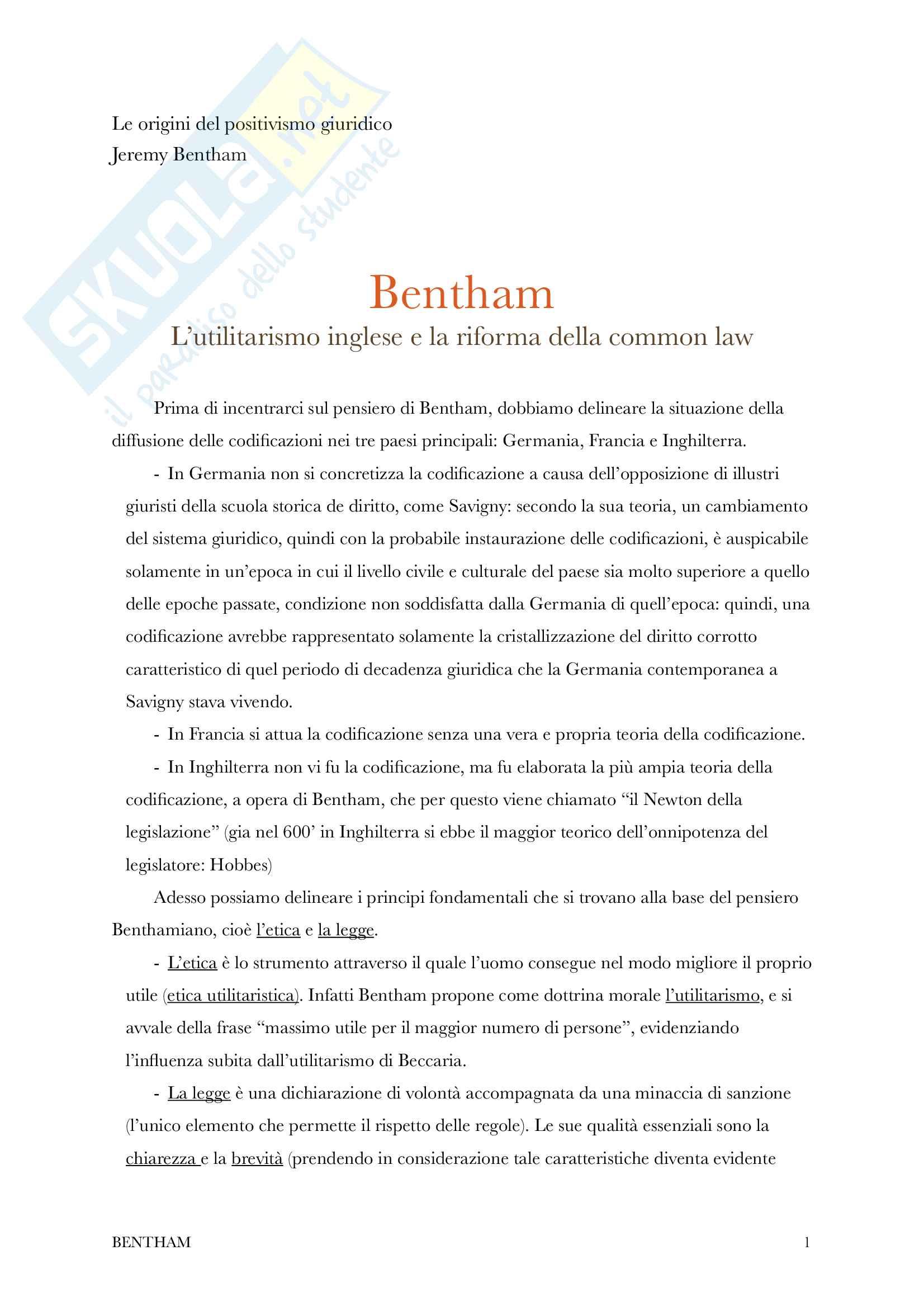 Bentham - Le origini del positivismo giuridico