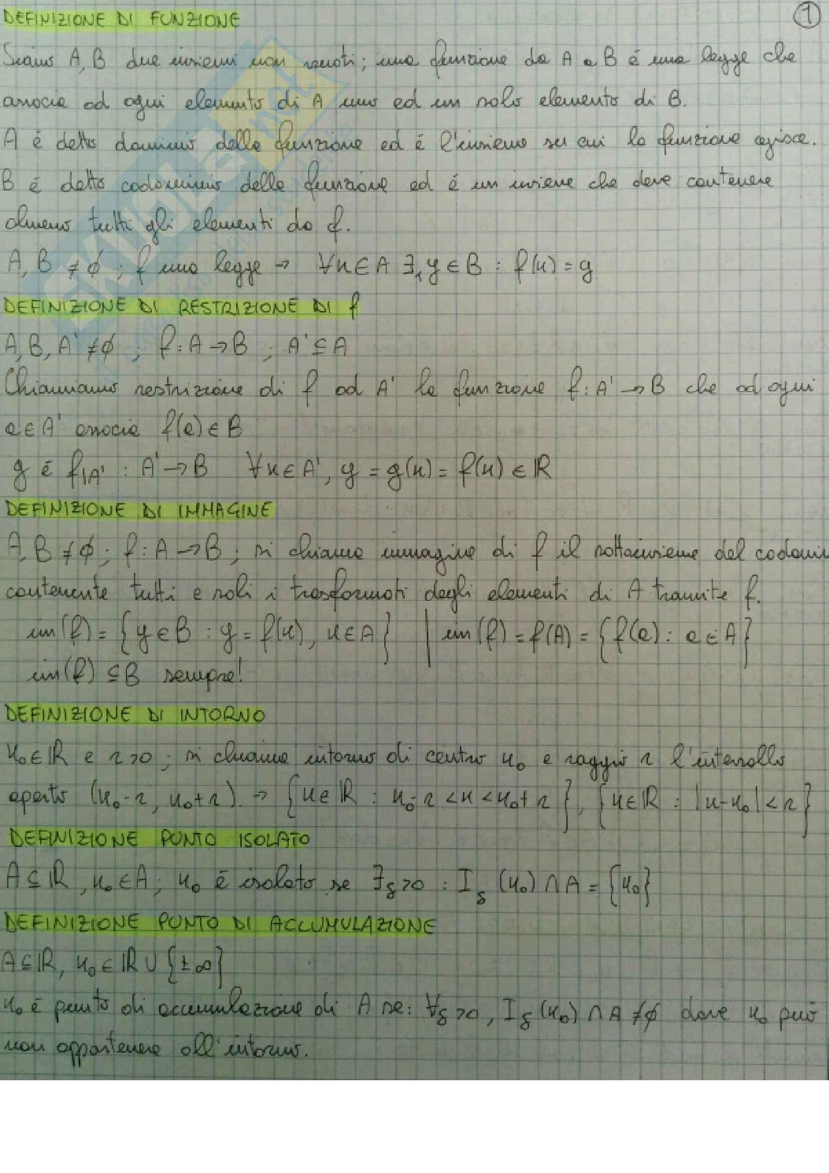 Definizioni e teoremi principali Analisi Matematica 1