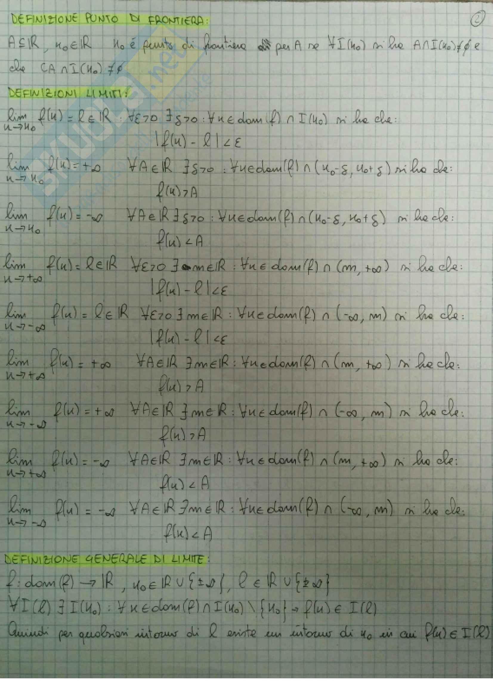 Definizioni e teoremi principali Analisi Matematica 1 Pag. 2