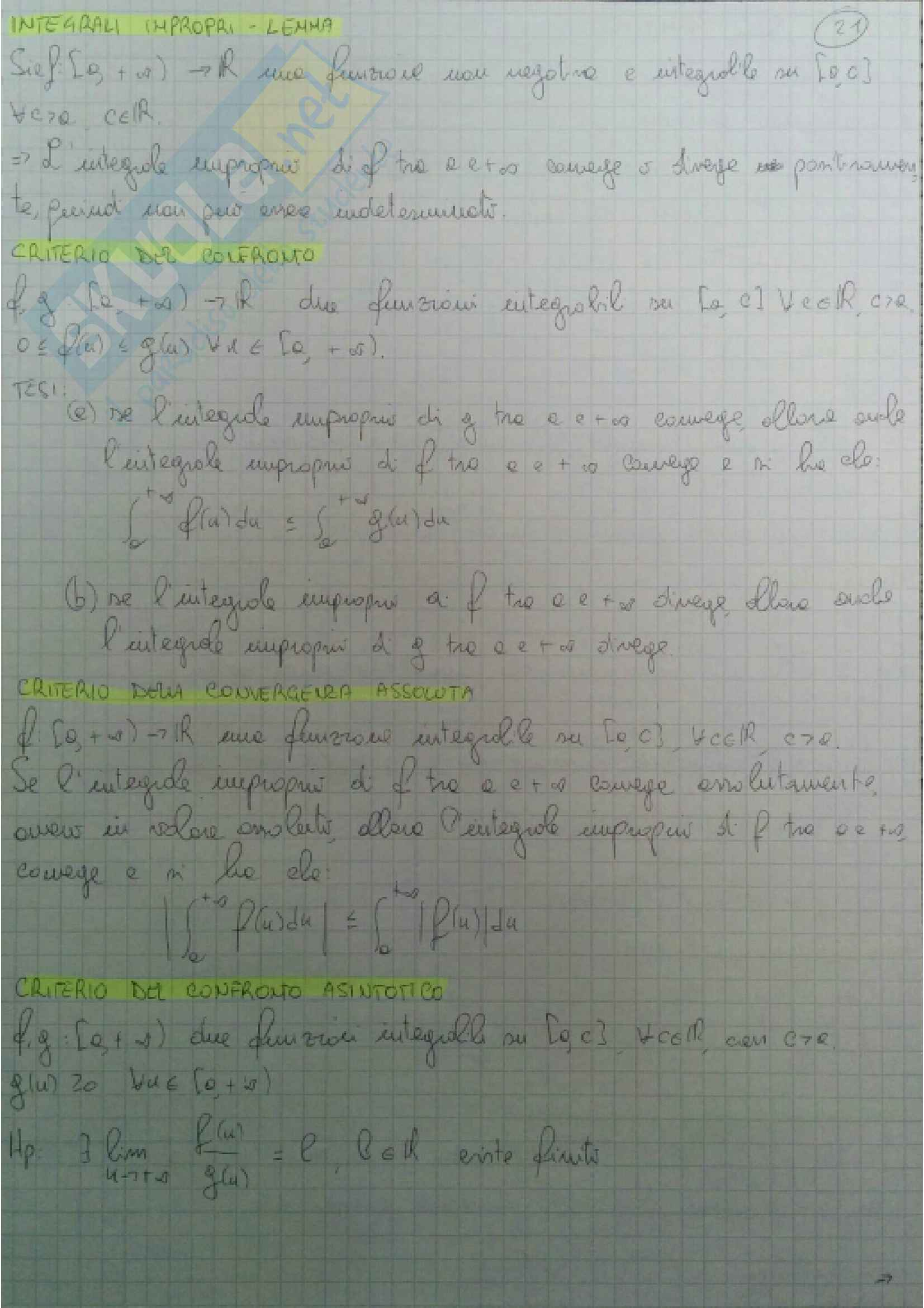 Definizioni e teoremi principali Analisi Matematica 1 Pag. 21