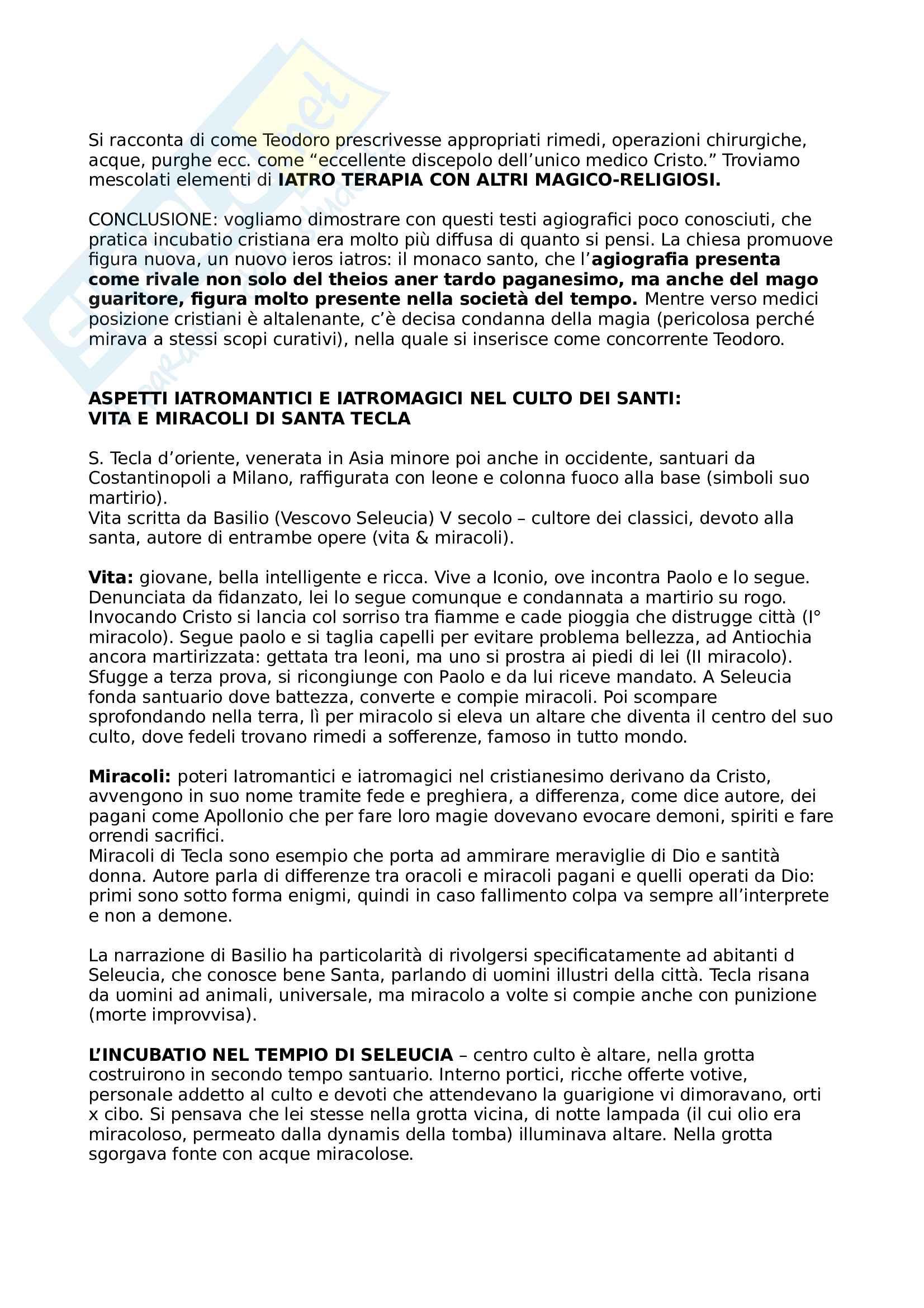 """Riassunto dell'esame Storia del cristianesimo e Storia del tardoantico cristiano, prof. Canetti, libro consigliato """"Cristo e Asclepio. Culti terapeutici e taumaturgici nel mondo mediterraneo antico fra pagani e cristiani"""", dal Covolo Pag. 11"""