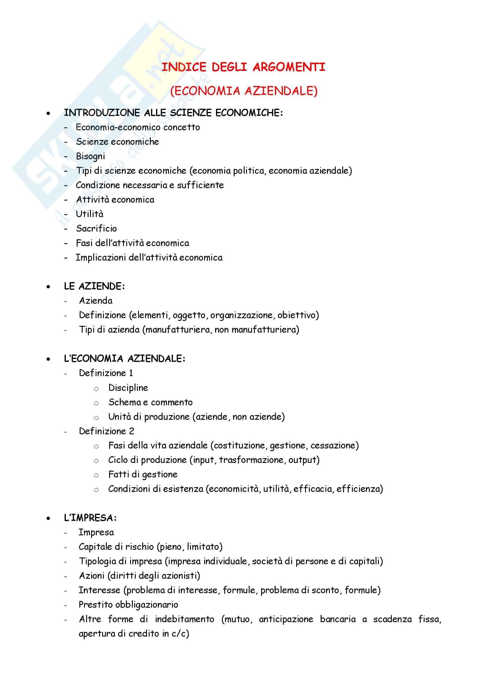 Appunti completi Economia aziendale
