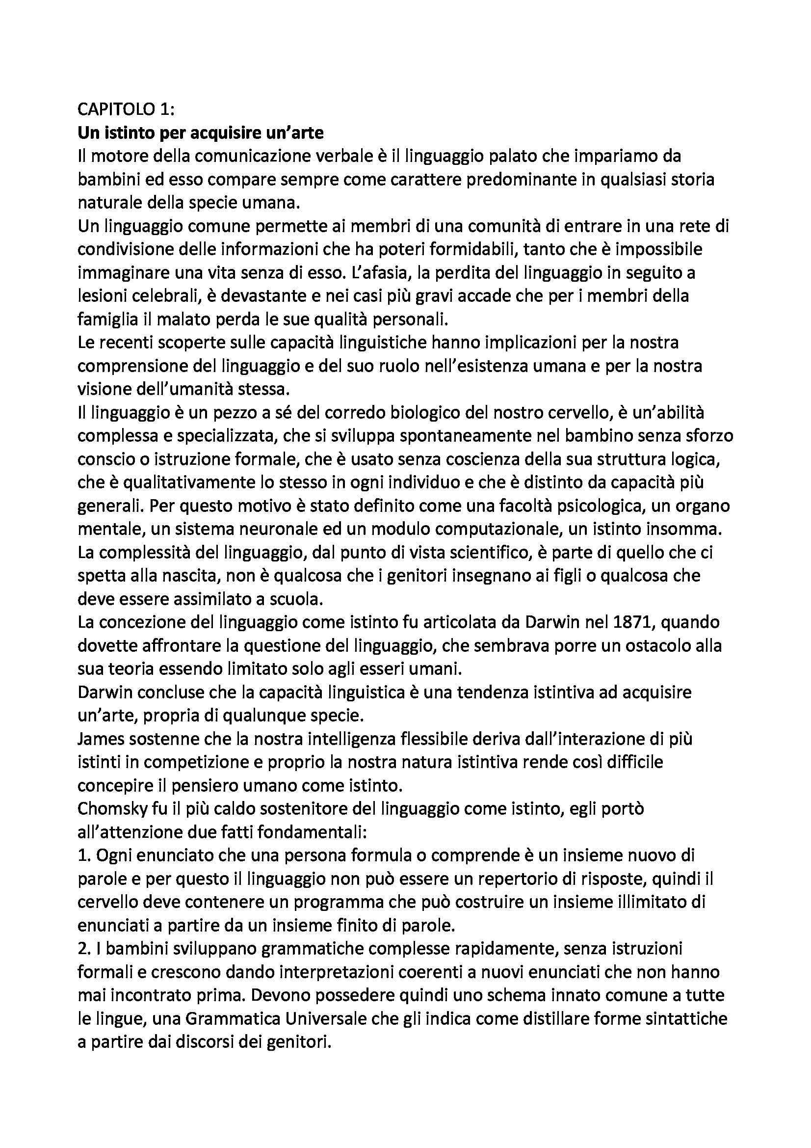 Riassunto esame Logica e Filosofia della Scienza, prof. Laudisa, libro consigliato L'Istinto del Linguaggio, Pinker