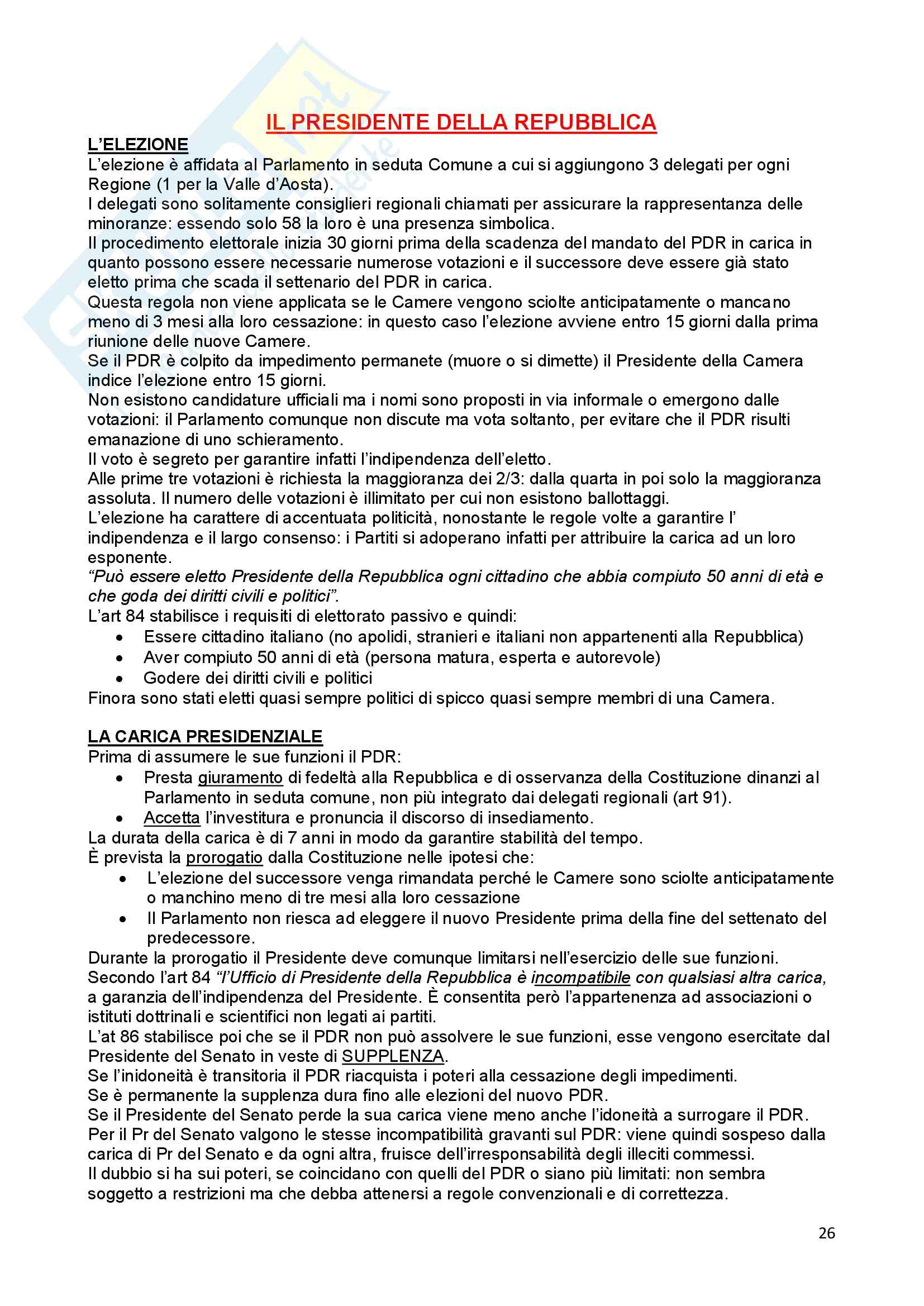 Riassunto esame Diritto Costituzionale, prof. Ferri, libro consigliato Compendio di Diritto Costituzionale,Onida e Pedrazza Gorlero Pag. 26