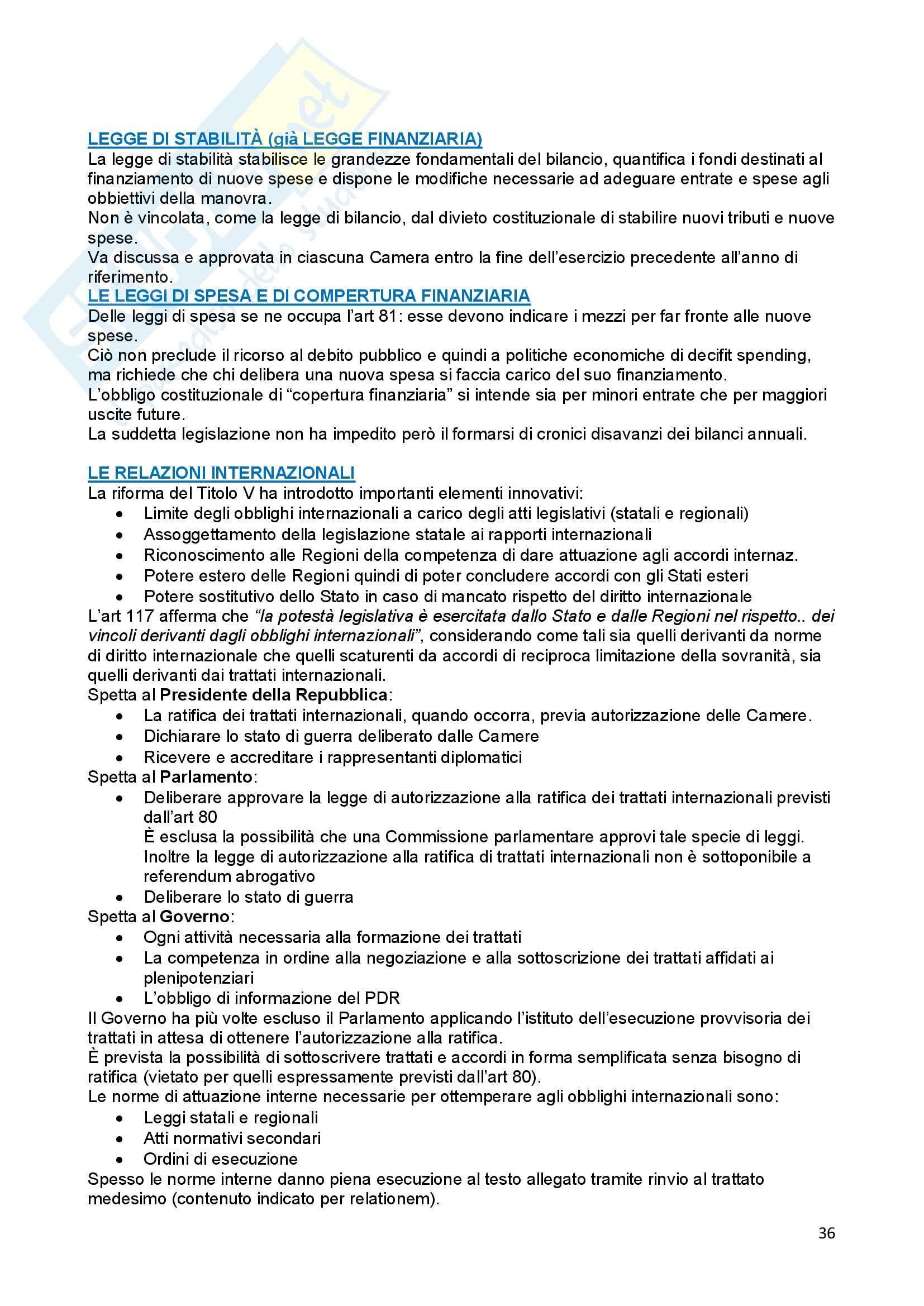 Riassunto esame Diritto Costituzionale, prof. Ferri, libro consigliato Compendio di Diritto Costituzionale,Onida e Pedrazza Gorlero Pag. 36