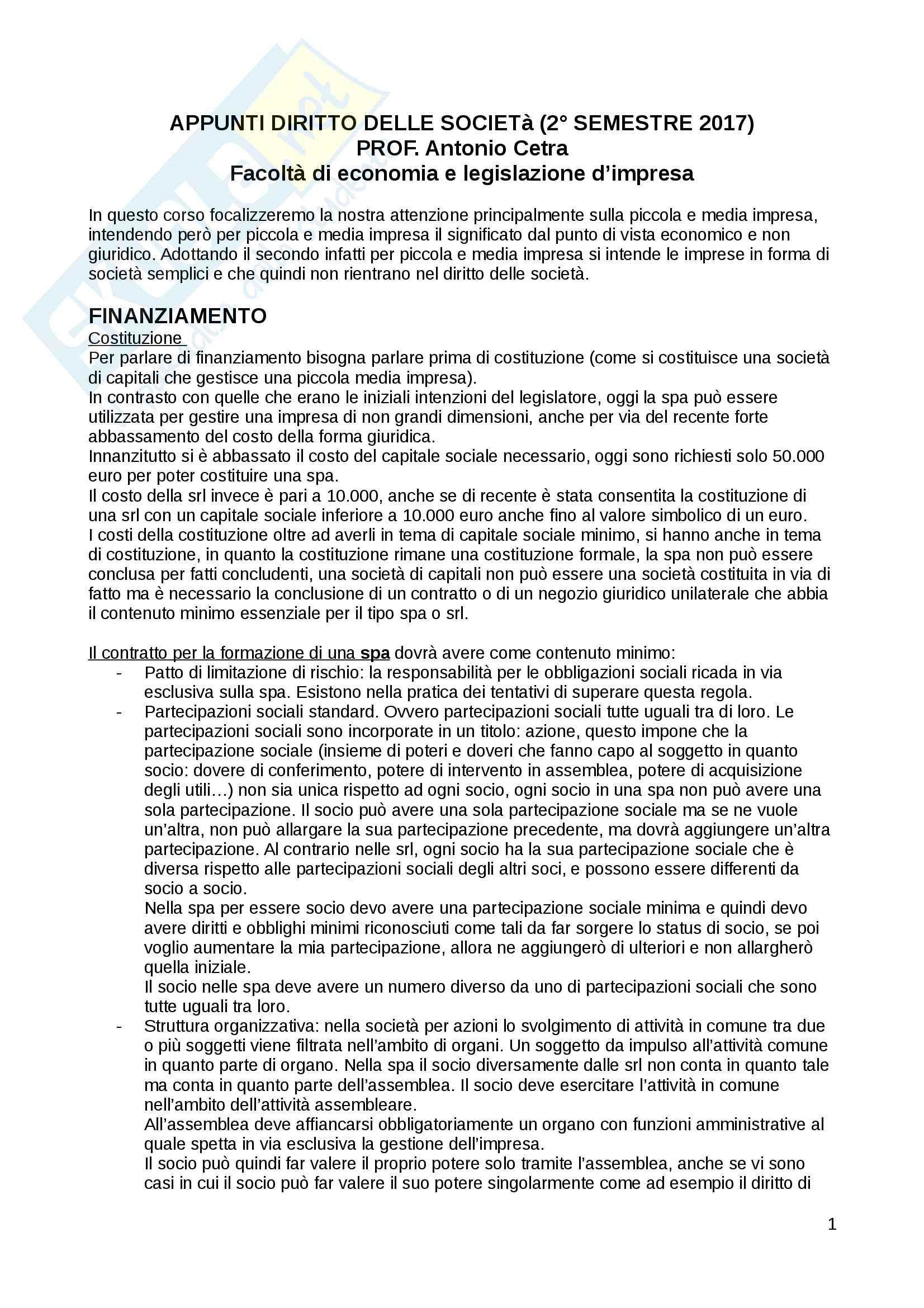 Appunti di diritto delle società validi per il superamento dell'esame con Cetra