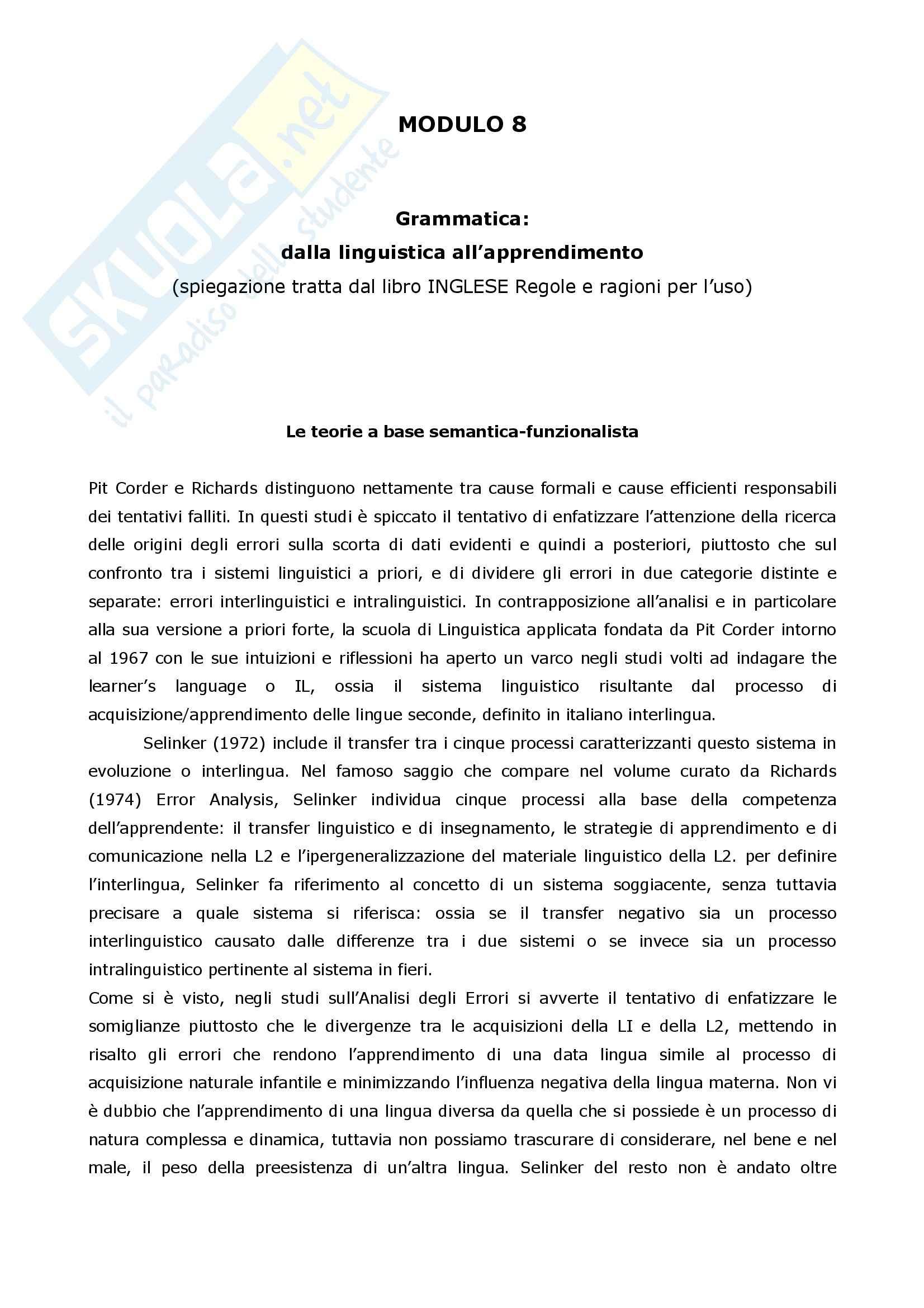 Inglese, regole e ragioni per l'uso - Le teorie a base semantica funzionalista