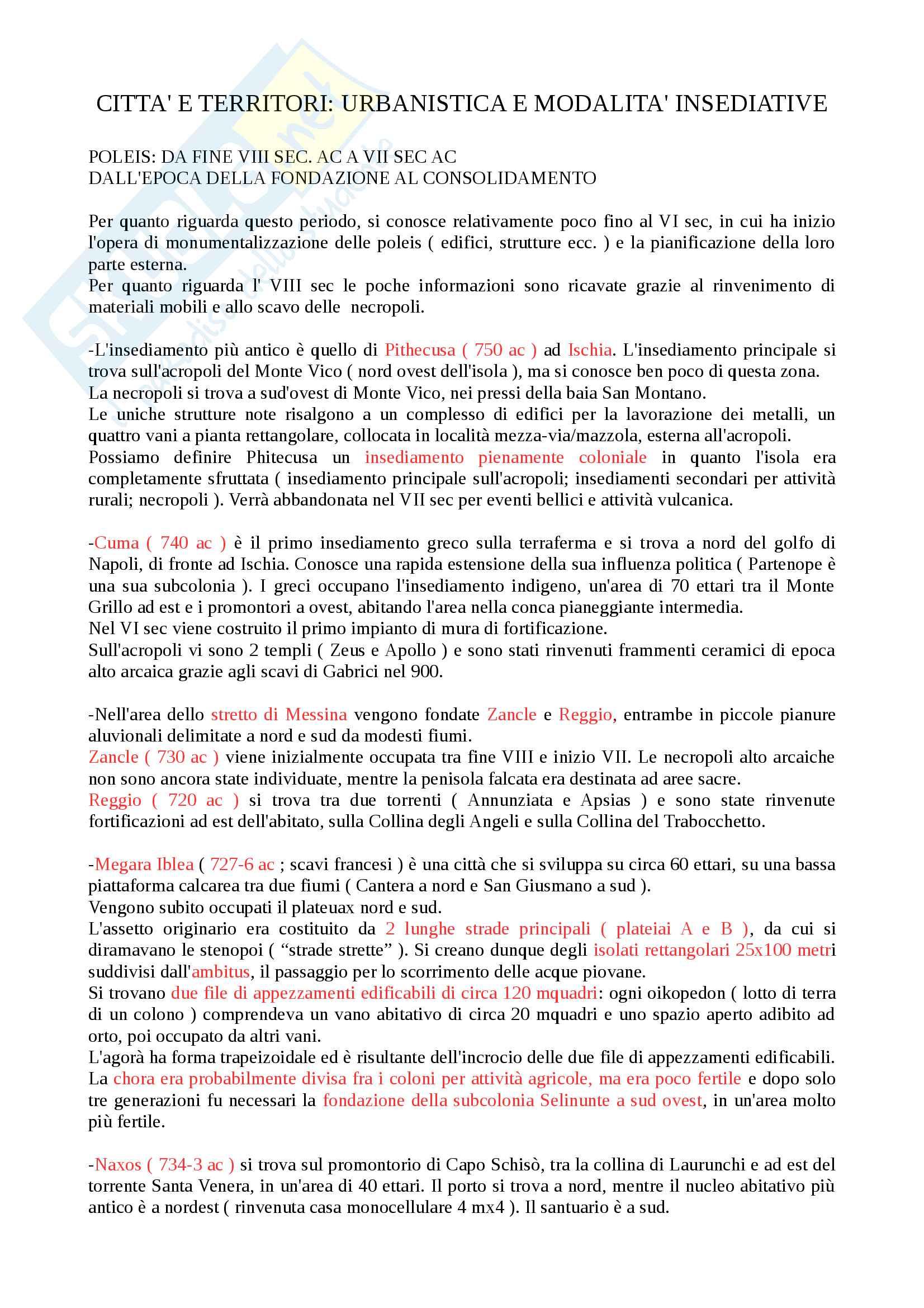 Riassunto per esame di archeologia e storia dell'arte greca, prof.Brizzolara, libro consigliato Sicilia e Magna Grecia, La Torre