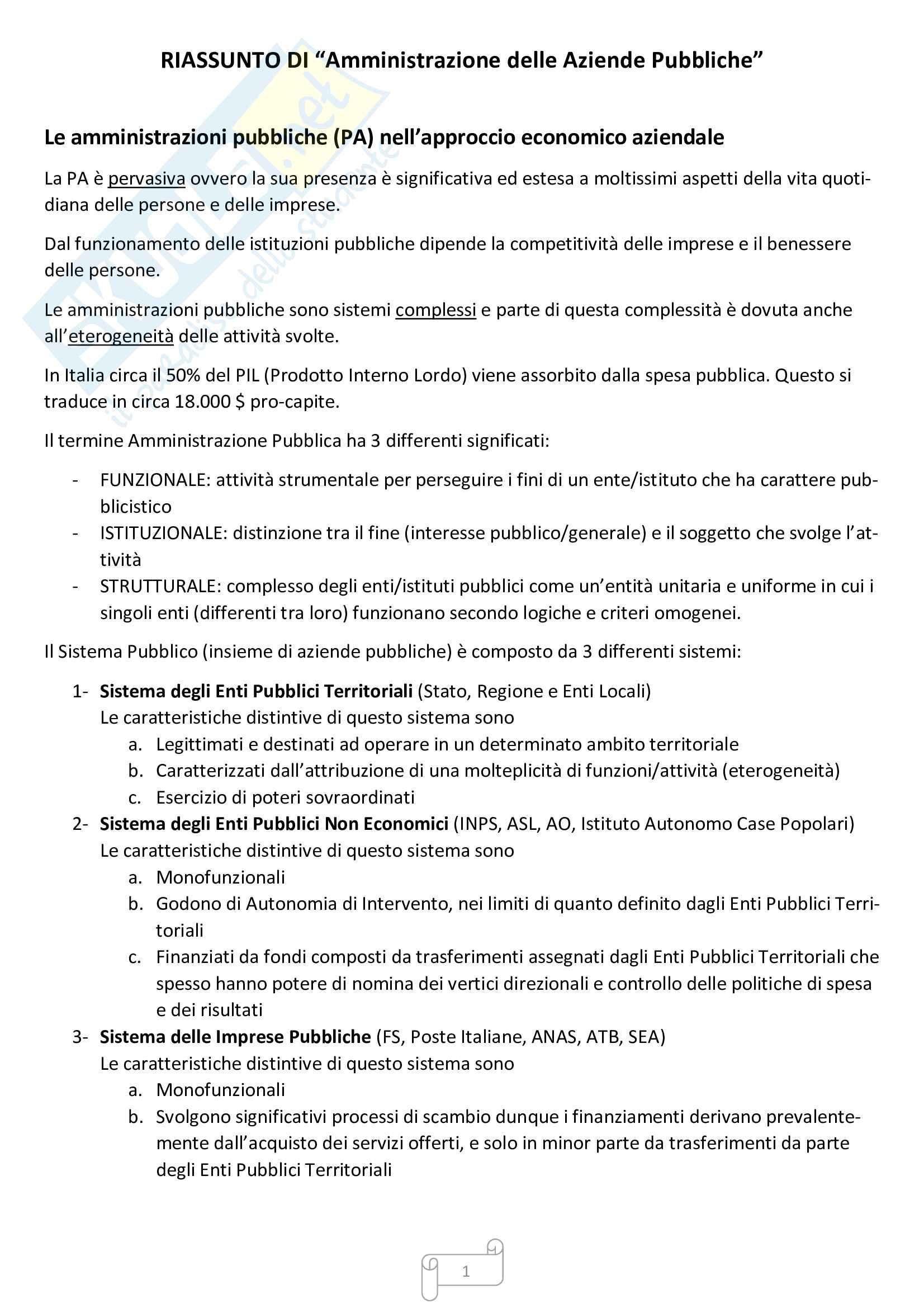 Appunti amministrazione delle aziende pubbliche