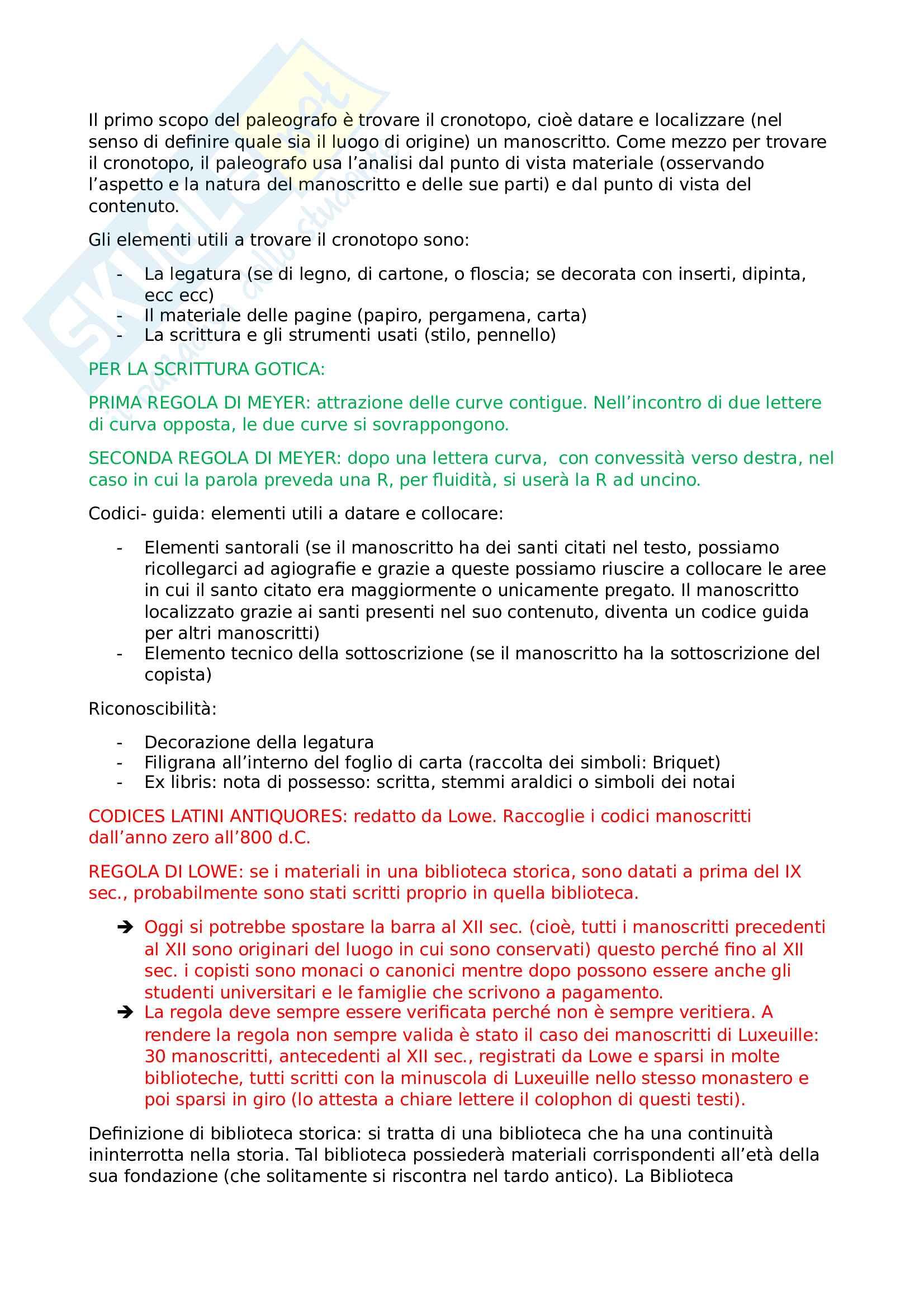 Riassunto completo del corso per l'esame di Paleografia Latina