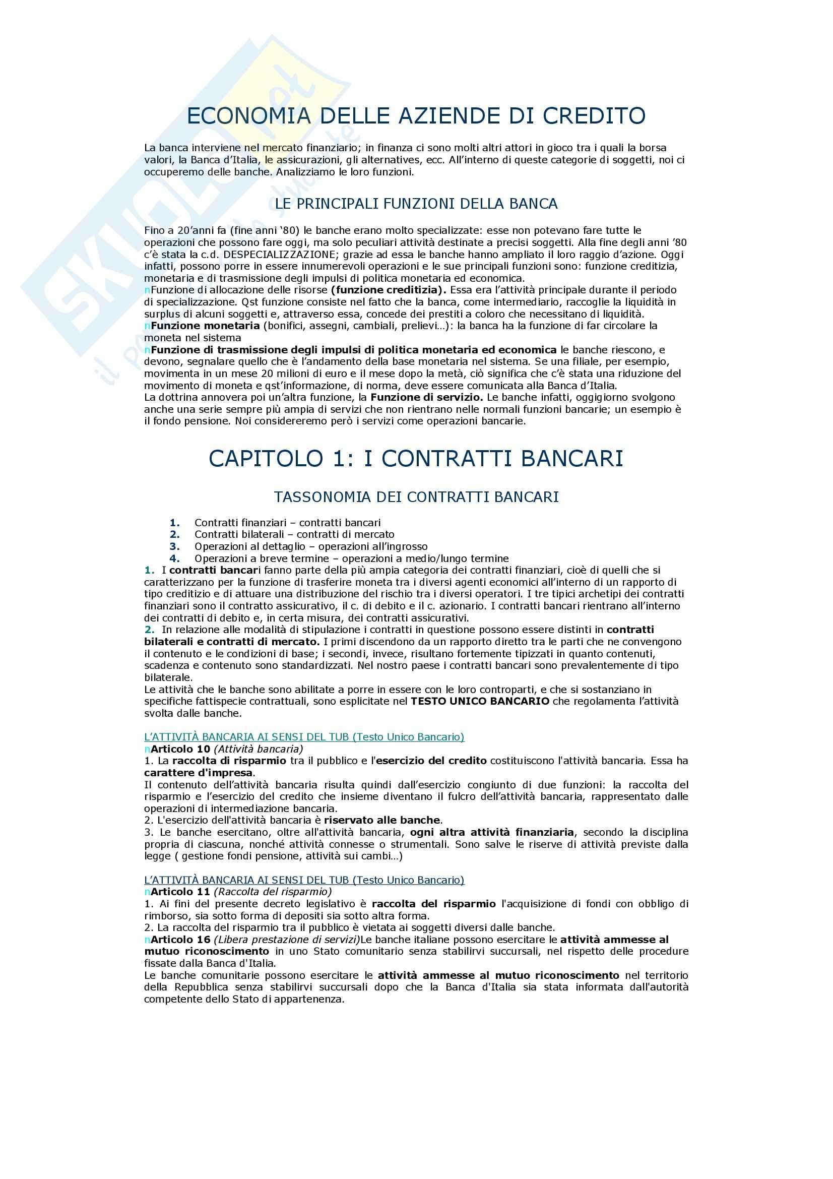 appunto F. Poli Economia delle aziende di credito