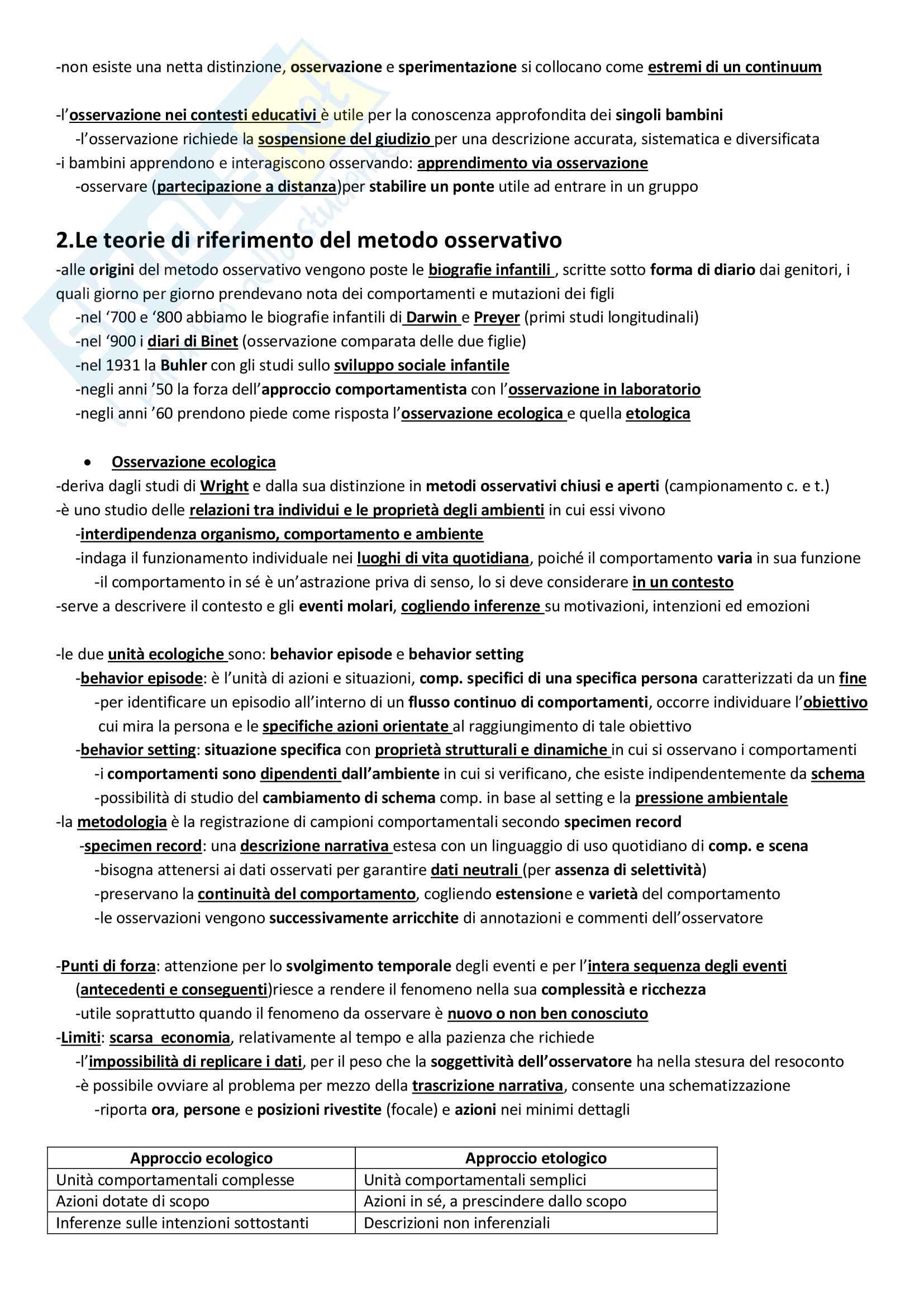 """Riassunto esame Modelli e Tecniche di Osservazione del Comportamento, prof.ssa Zappulla, libro consigliato """"L'osservazione del comportamento infantile"""" di Baumgartner E. Pag. 2"""