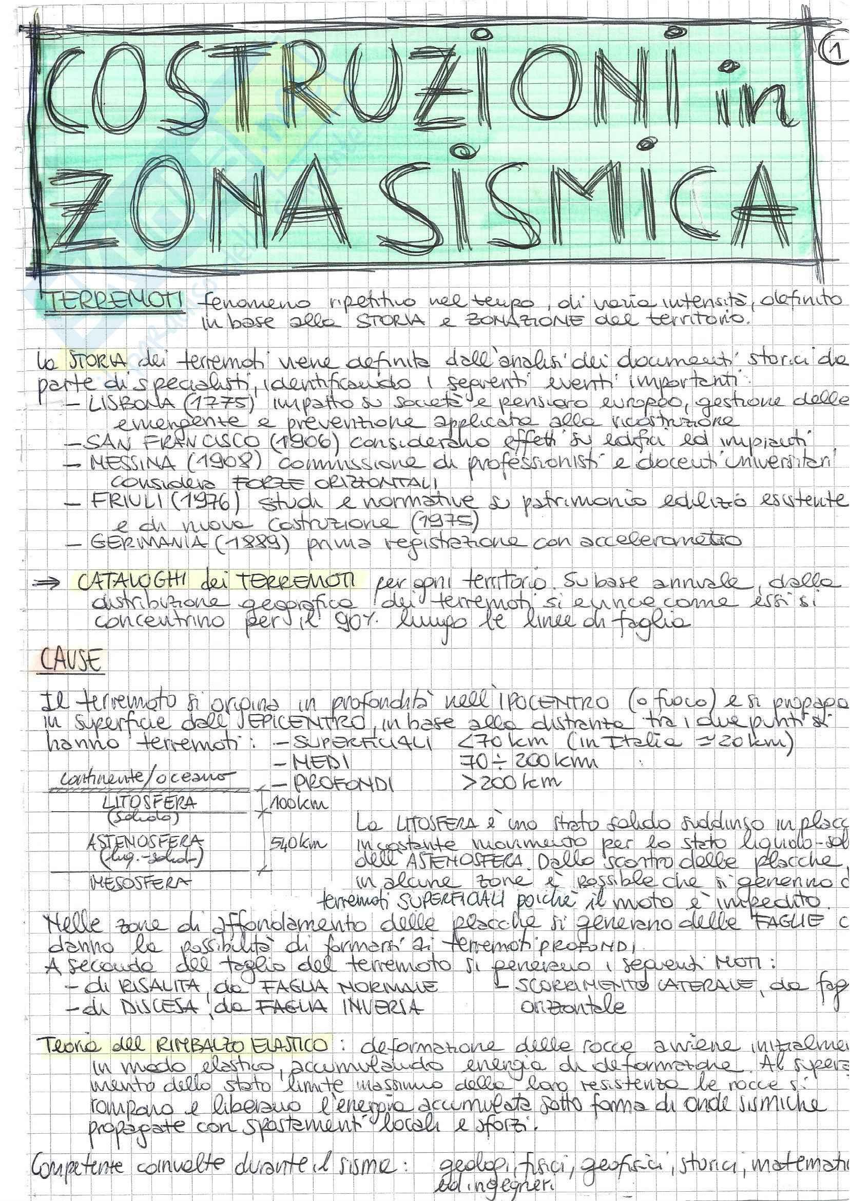 Costruzioni In Zona Sismica - Teoria