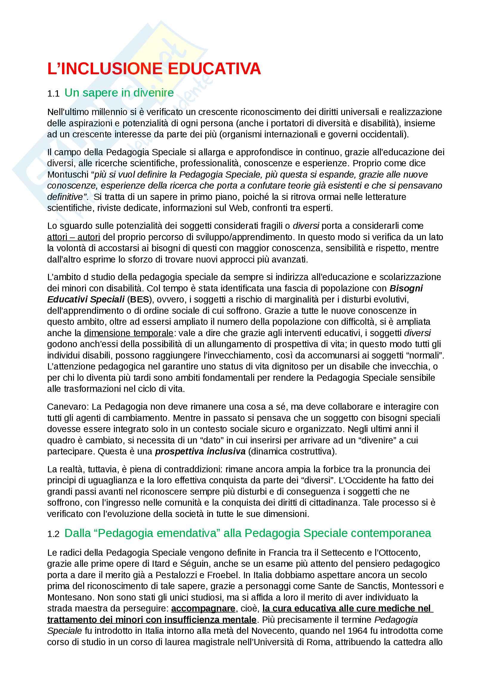 Riassunto esame pedagogia speciale,prof. Pavone, libro consigliato Inclusione Educativa, Pavone