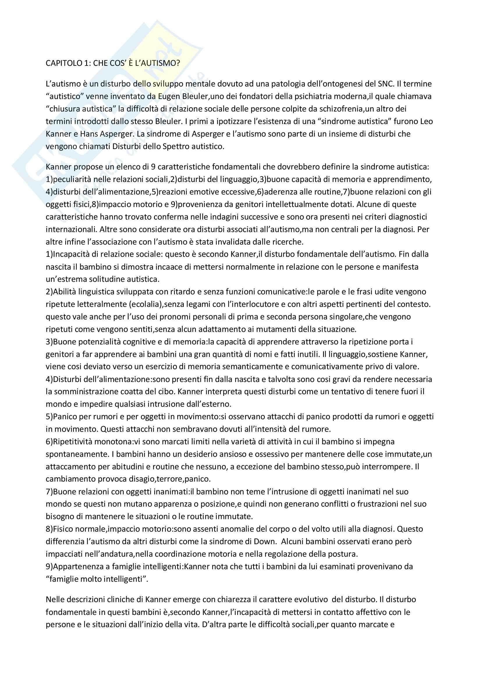 Riassunto esame Psicologia Scolastica, prof. Filipello, libro consigliato L'Autismo, Laurian