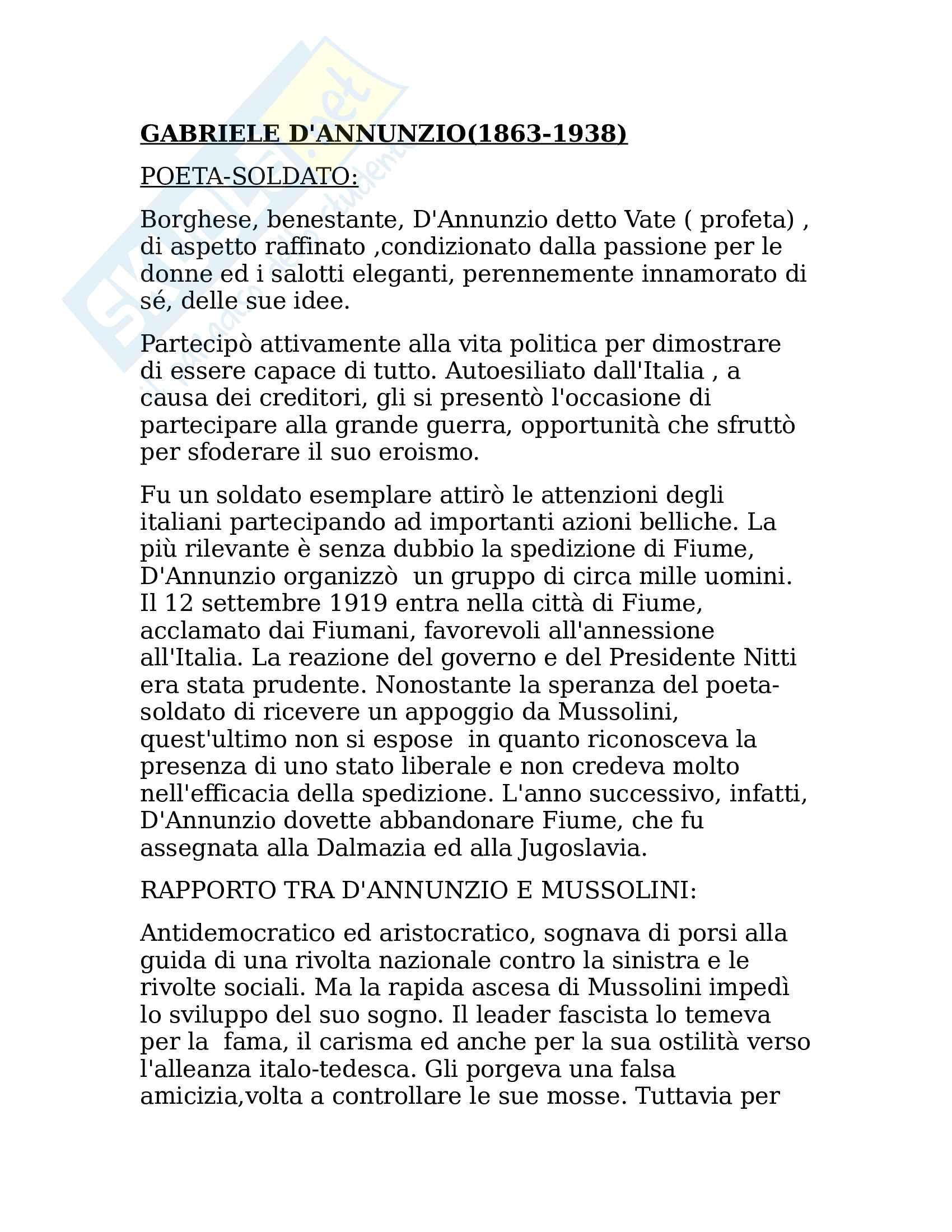 D' Annunzio, Gabriele - Vita,poetica, opere. Il poeta soldato e il Superuomo. Riassunto esame Letteratura Italiana, prof. Pierangeli
