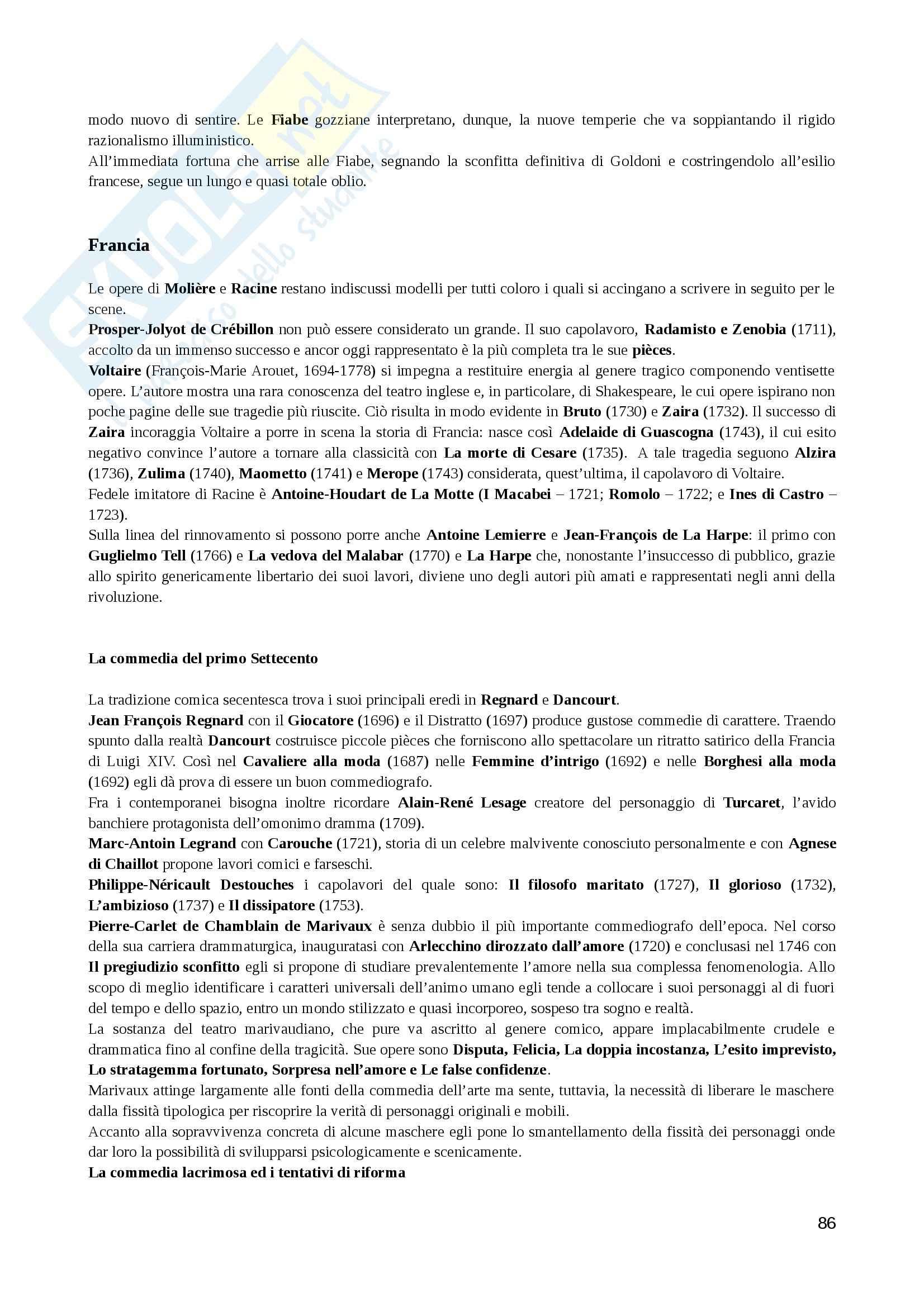 Riassunto esame Storia del teatro, prof. Bentoglio, libro consigliato Storia del teatro dell'occidente, Bosisio Pag. 86
