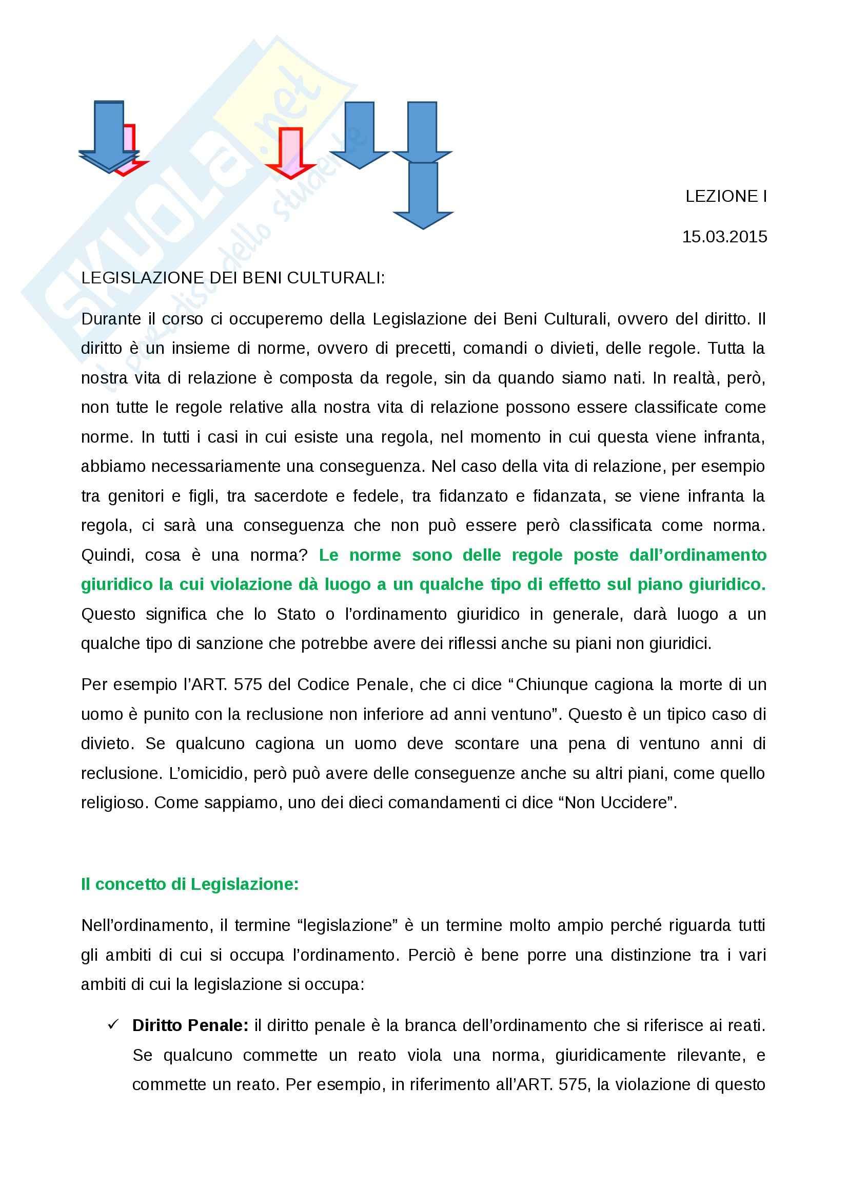 Appunti Lezioni A.A. 2014/2015 Legislazione dei Beni Culturali