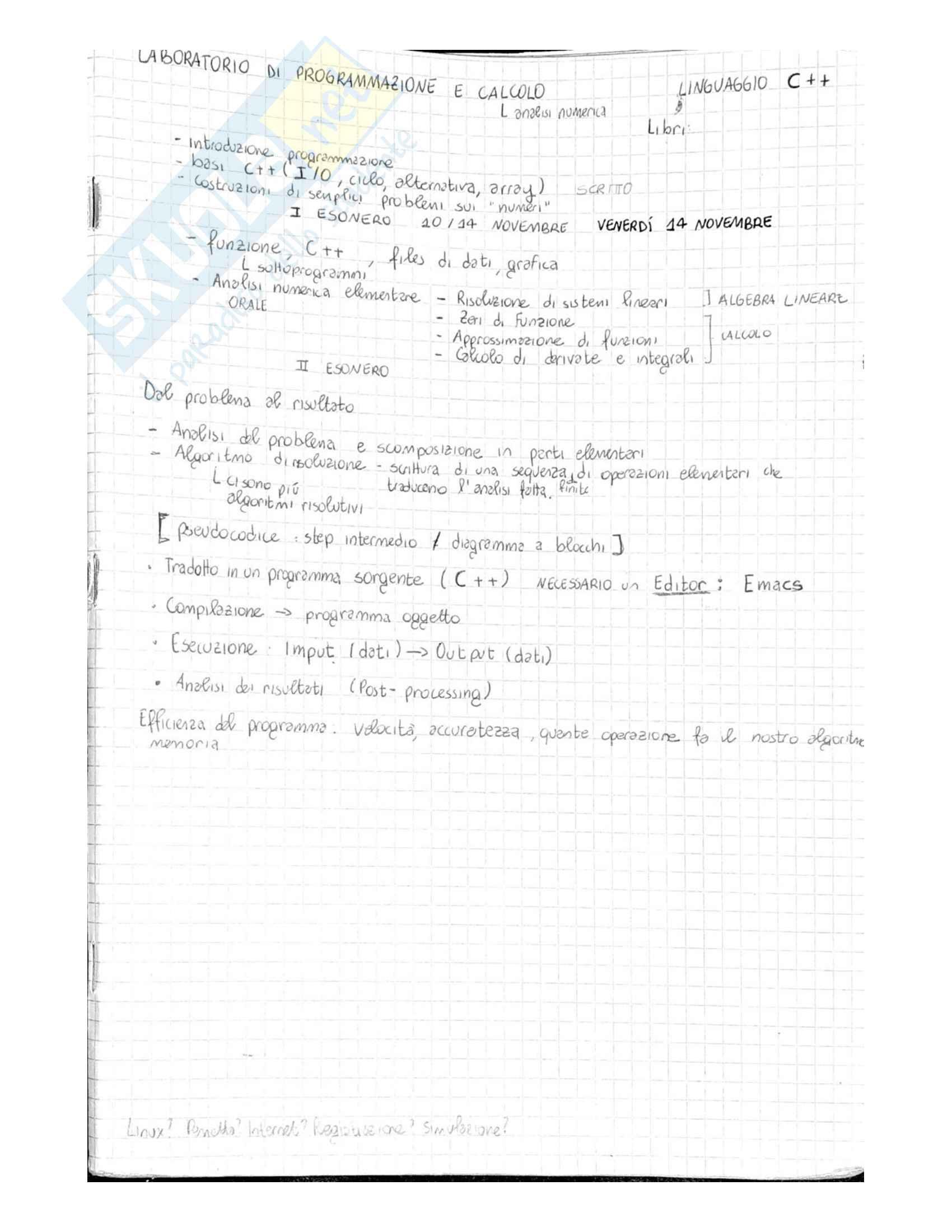 Laboratorio di Programmazione e Calcolo - Tutta la teoria ed esercizi