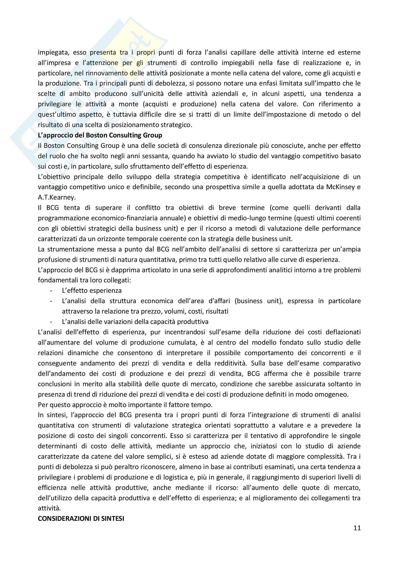 Riassunto esame Strategia Competitiva, prof. Invernizzi, libro consigliato Posizionamento Strategico e Risultati Aziendali, Russo Pag. 11
