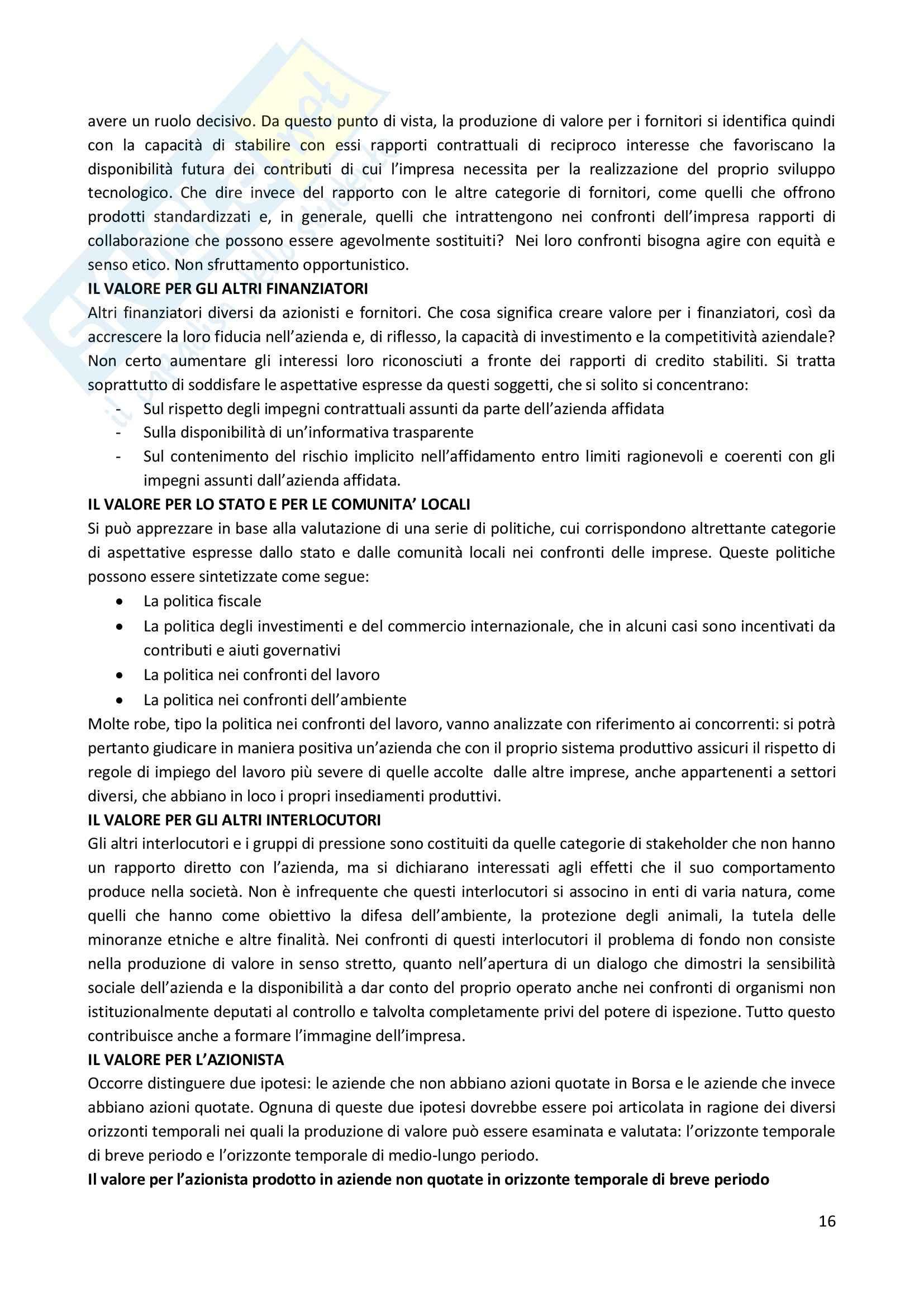 Riassunto esame Strategia Competitiva, prof. Invernizzi, libro consigliato Posizionamento Strategico e Risultati Aziendali, Russo Pag. 16