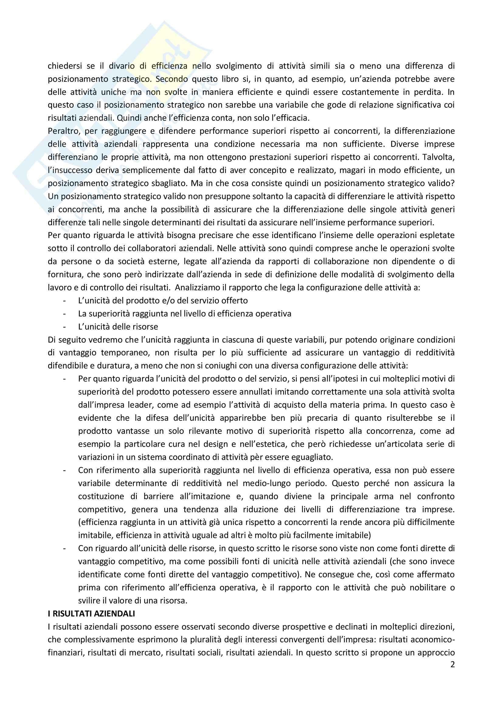 Riassunto esame Strategia Competitiva, prof. Invernizzi, libro consigliato Posizionamento Strategico e Risultati Aziendali, Russo Pag. 2