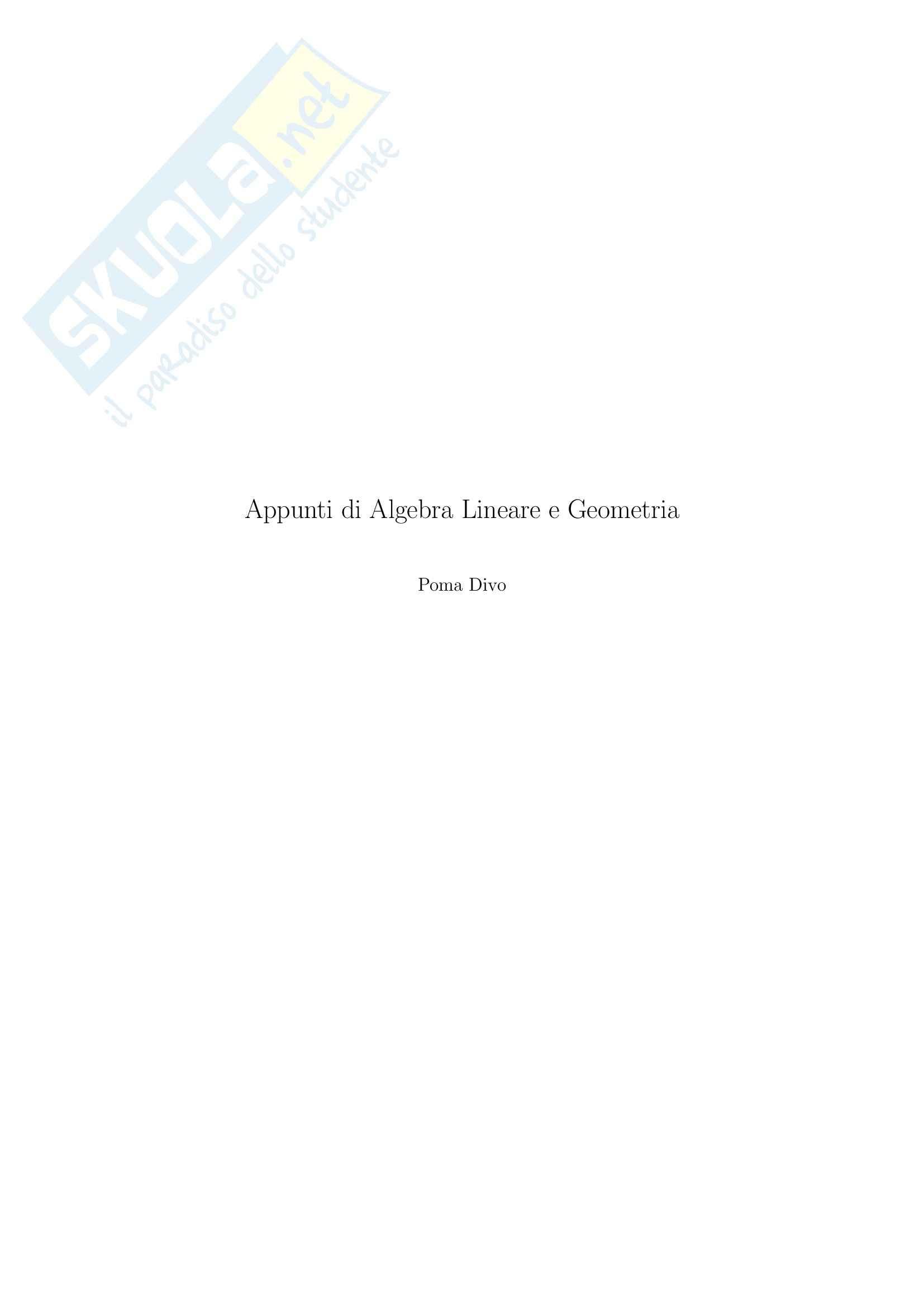 Algebra lineare e geometria - Appunti