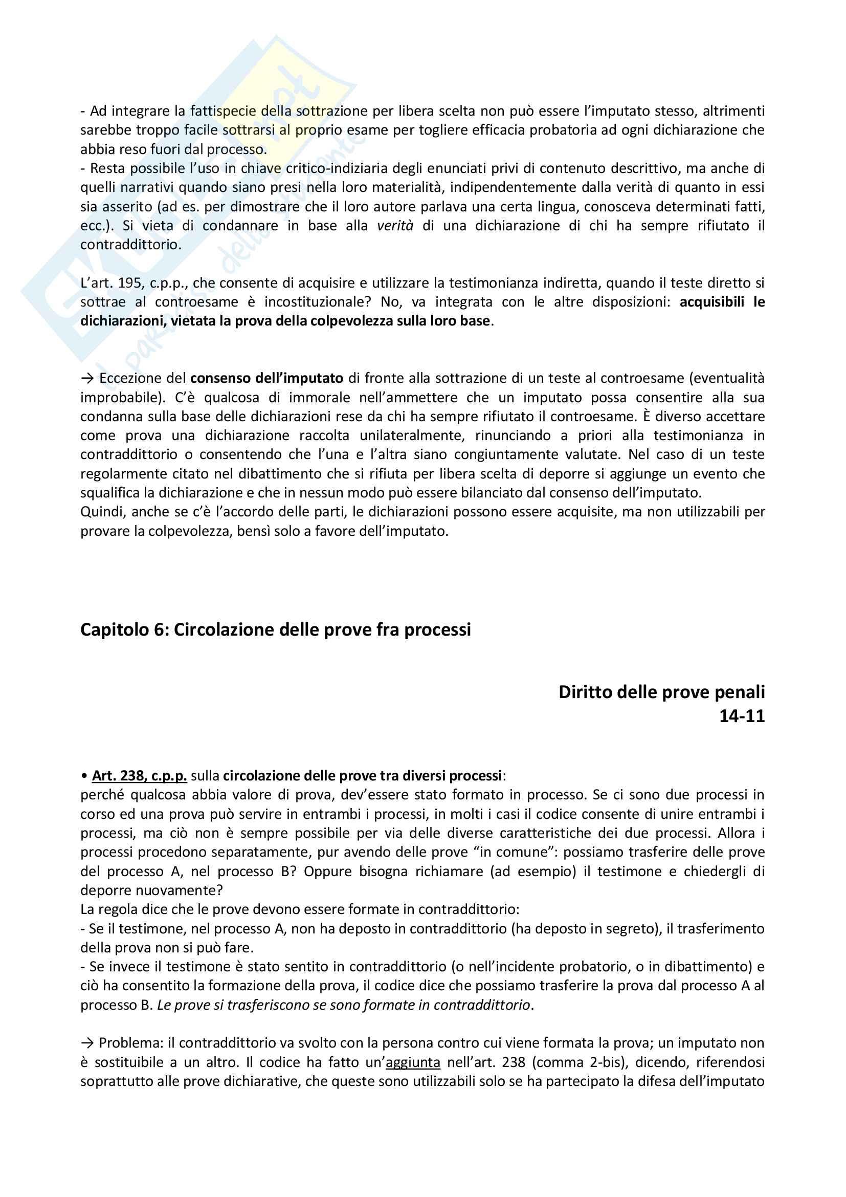 Riassunto esame diritto delle prove penali, prof. Ferrua Pag. 36