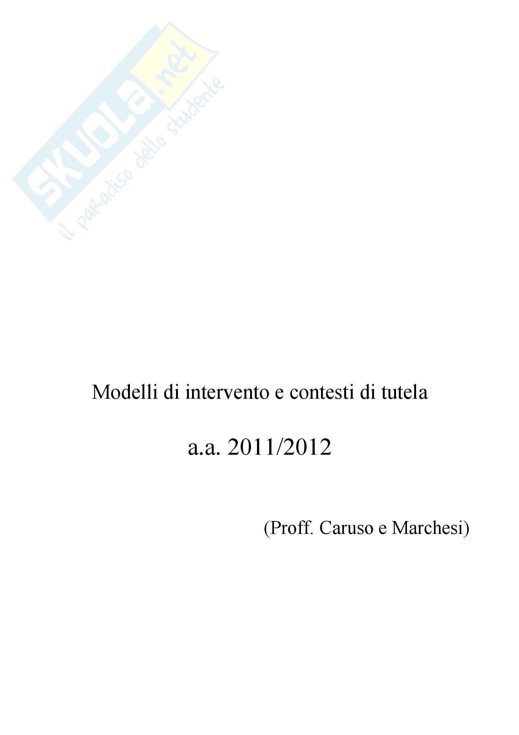 Riassunto esame Modelli di intervento e contesti di tutela, prof. Marchesi, libro consigliato Cattivi genitori, Cirillo