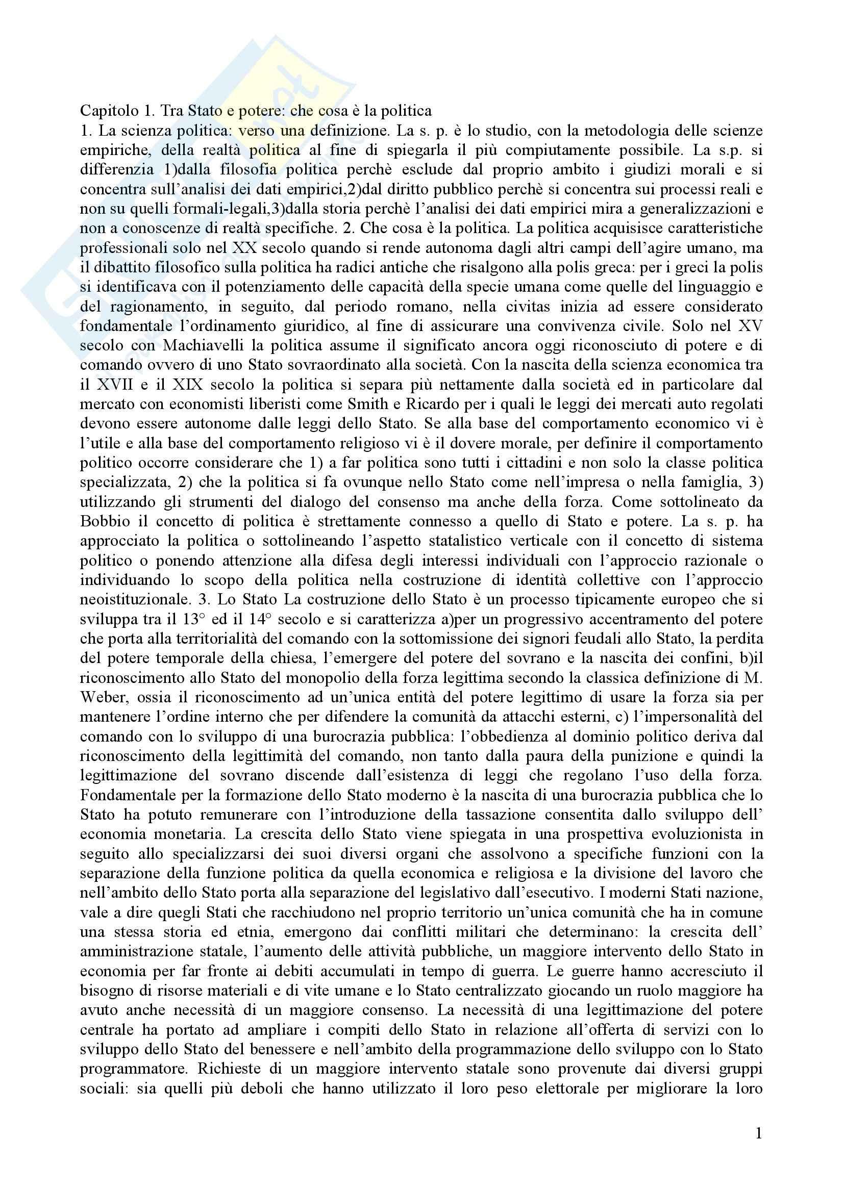 Riassunto esame Scienza politica, prof. indefinito, libro consigliato Intruduzione alla scienza politica, Della Porta