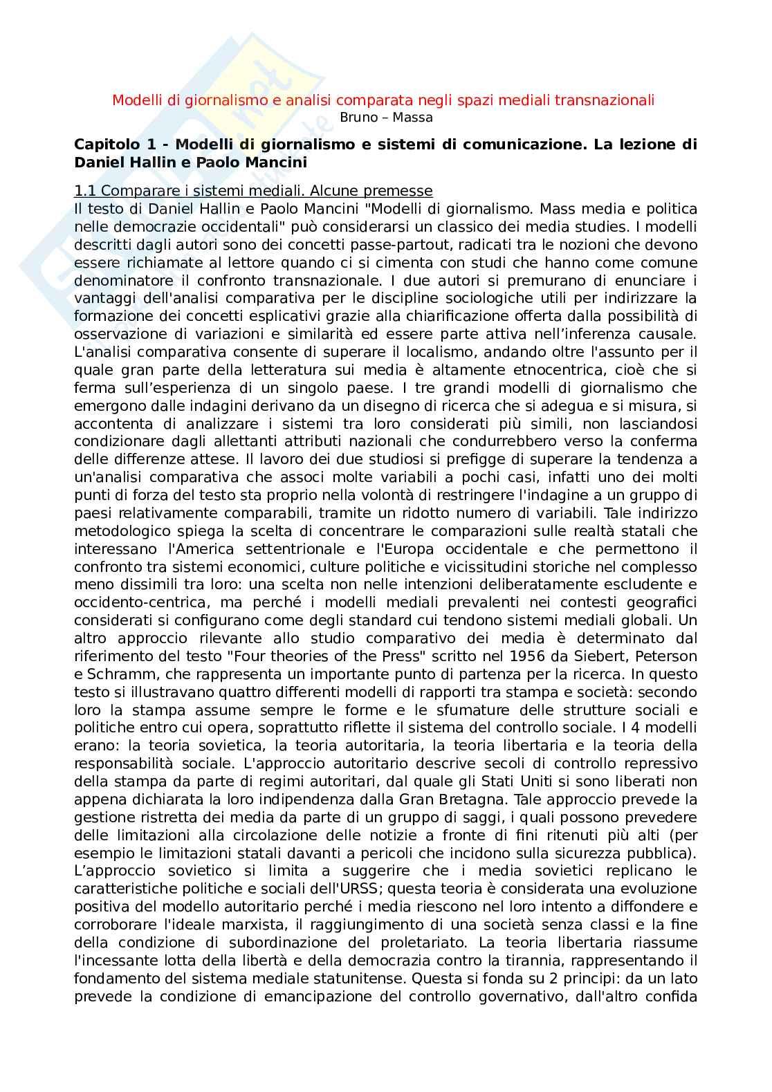 Riassunto esame Storia e modelli del giornalismo, prof. Bruno, libro consigliato Modelli di giornalismo e analisi comparata negli spazi mediali transnazionali, Bruno, Massa