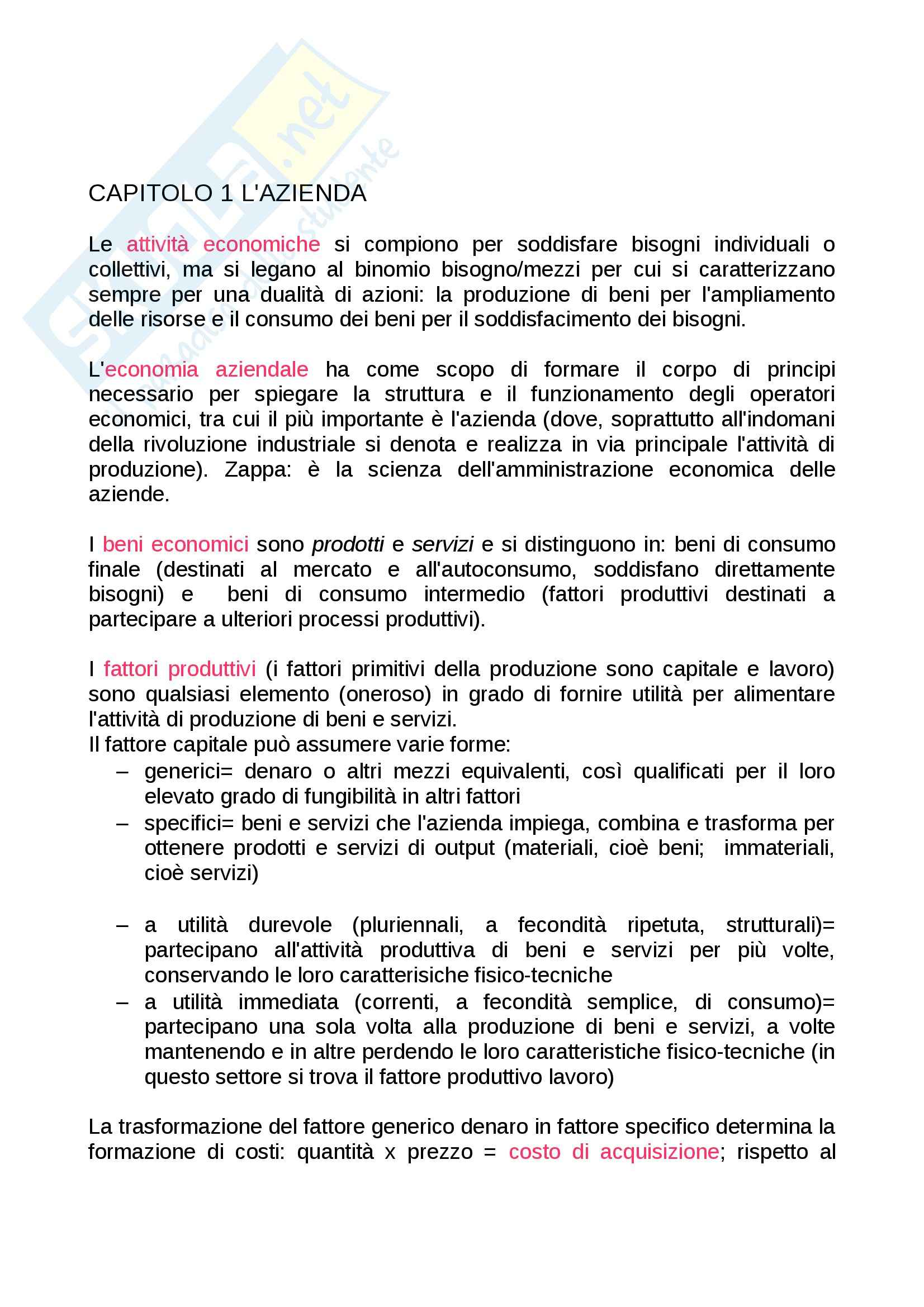 sunto Economia, prof. Paolini, libro consigliato Introduzione all'economia aziendale, Ricci