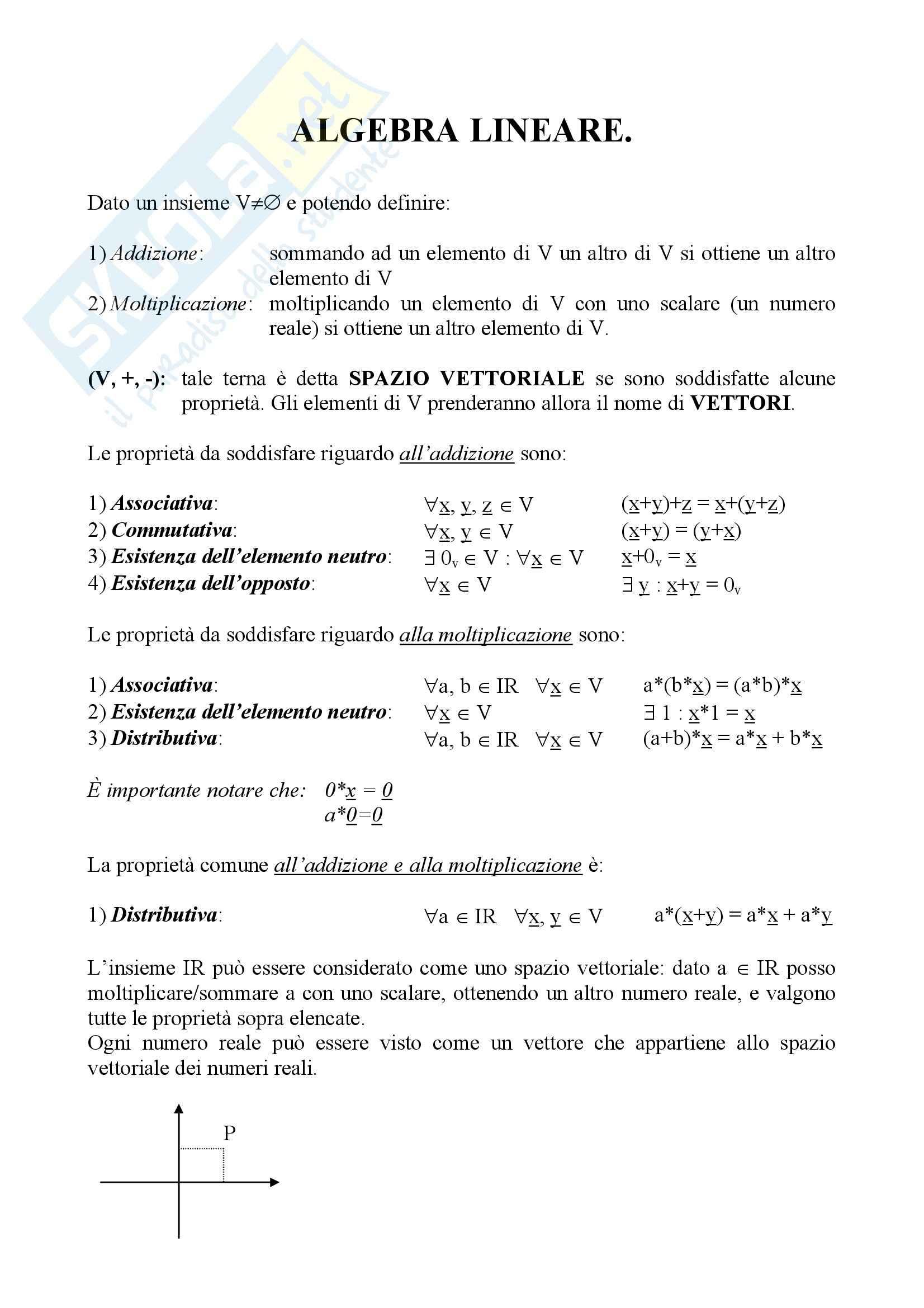 Geometria 1 - lo spazio vettoriale