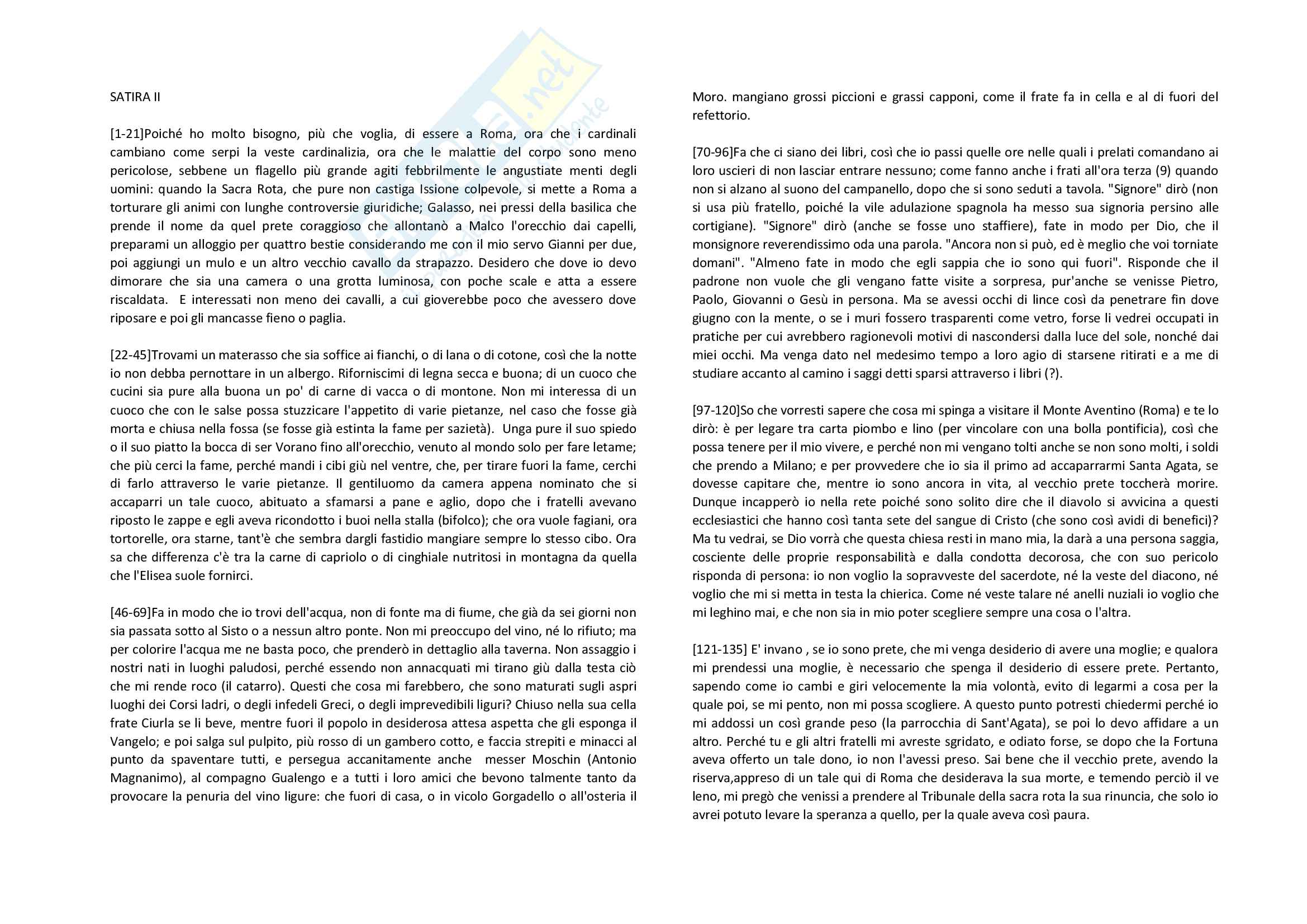 Parafrasi satira II Ariosto