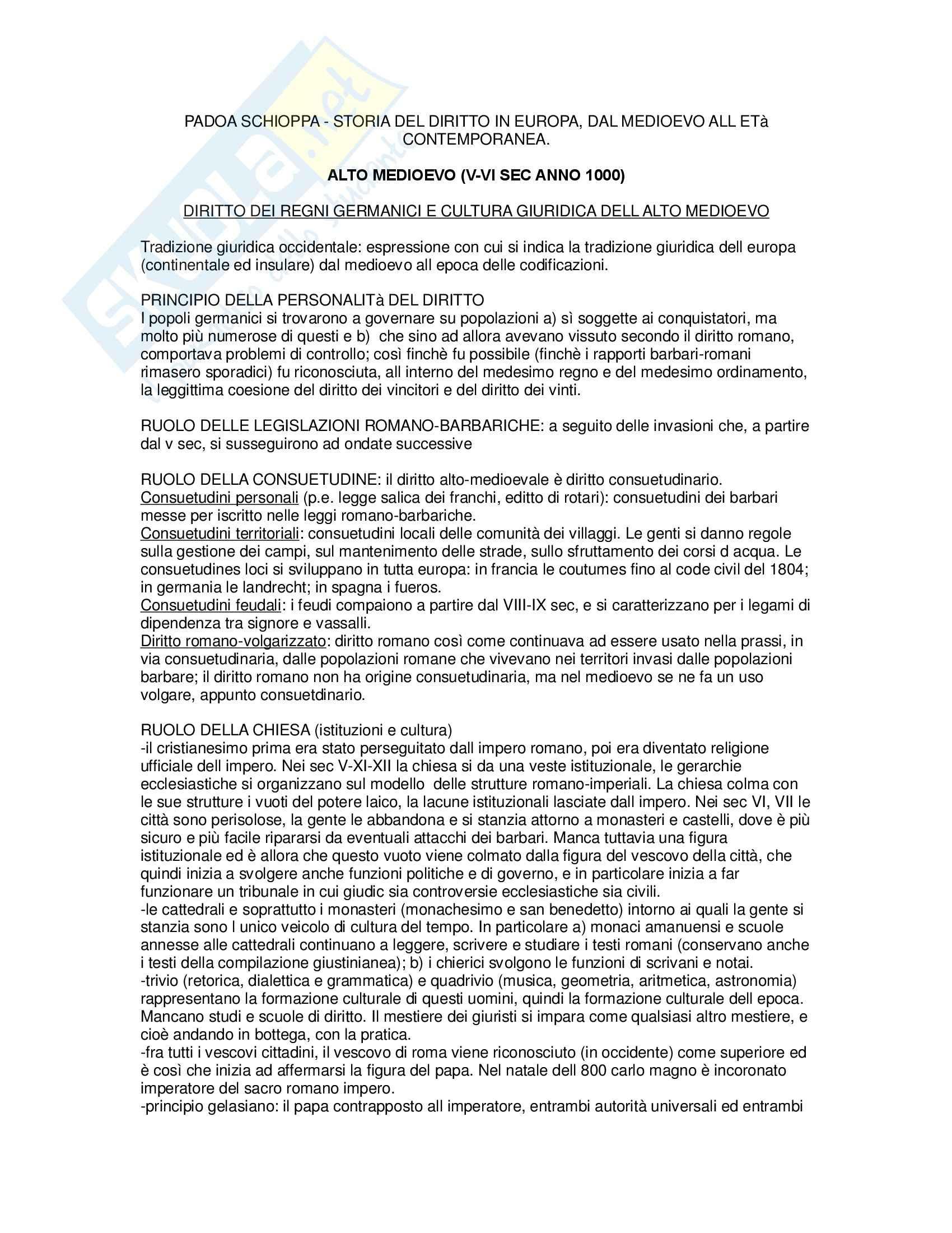 Storia del diritto in Europa - Padoa Schioppa - Riassunto esame, prof. Miglierino