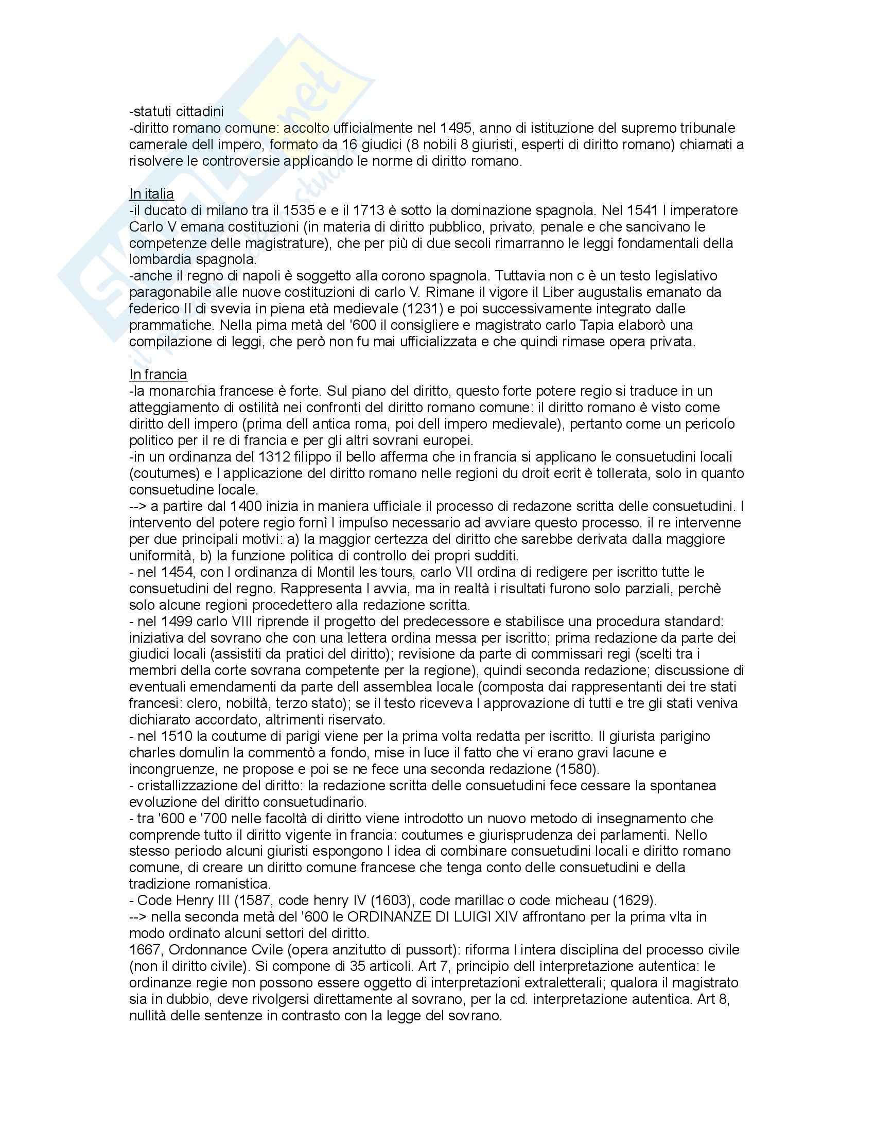 Storia del diritto in Europa - Padoa Schioppa - Riassunto esame, prof. Miglierino Pag. 16