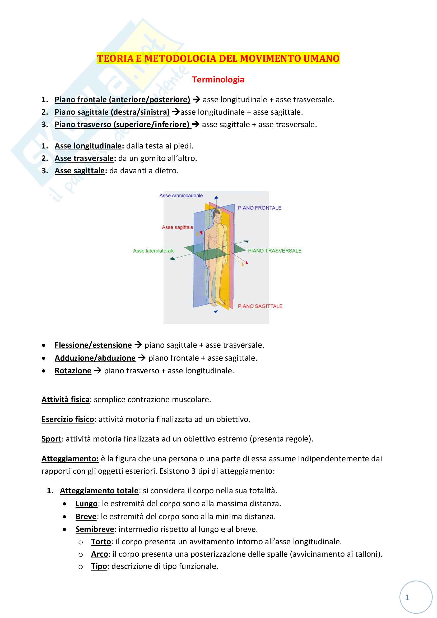 Teoria e metodologia del movimento umano