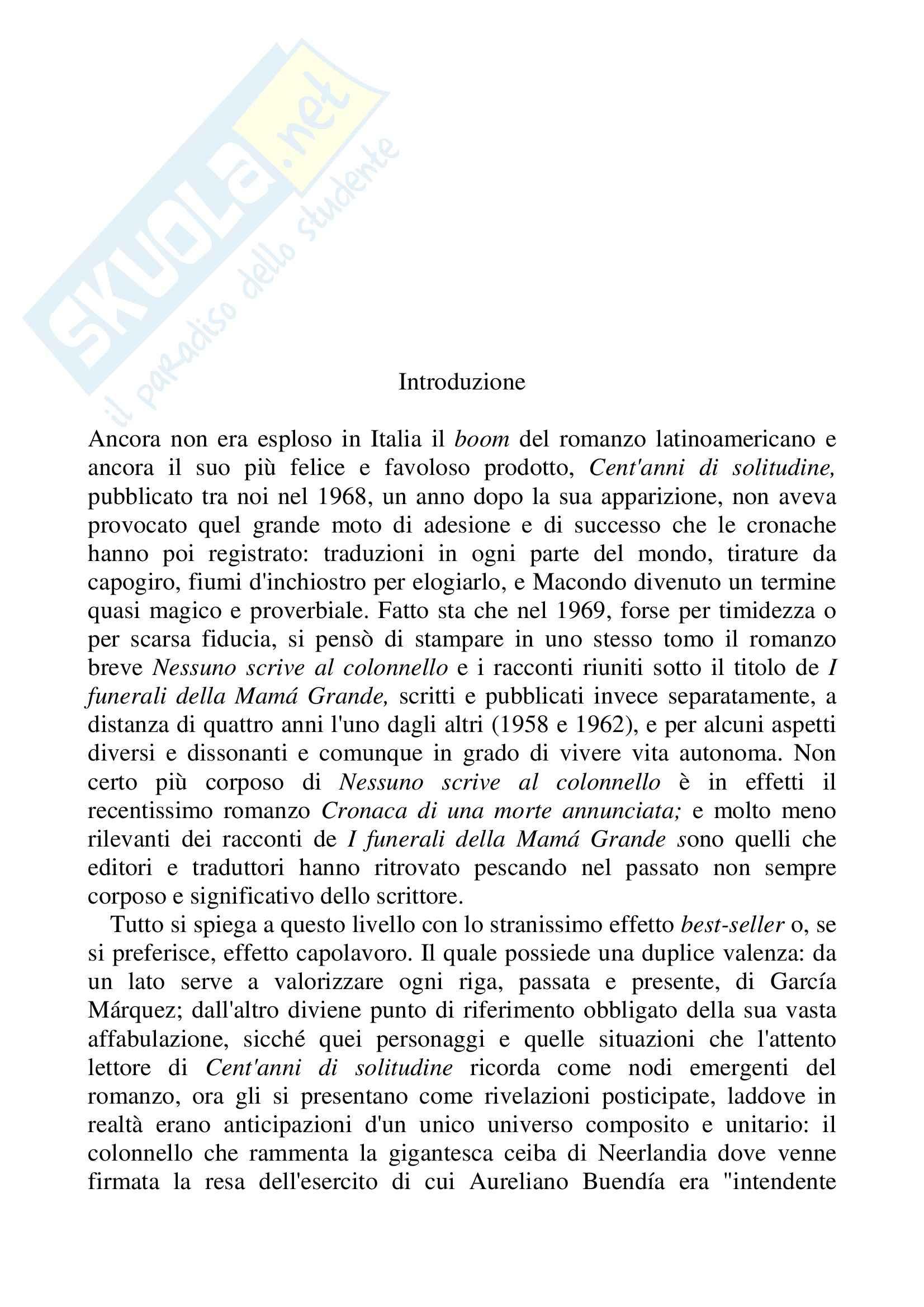 Riassunto esame Lingua Spagnola, prof. Gomez, libro consigliato Nessuno scrive al colonnello, Gabriel Garcàa Marquez