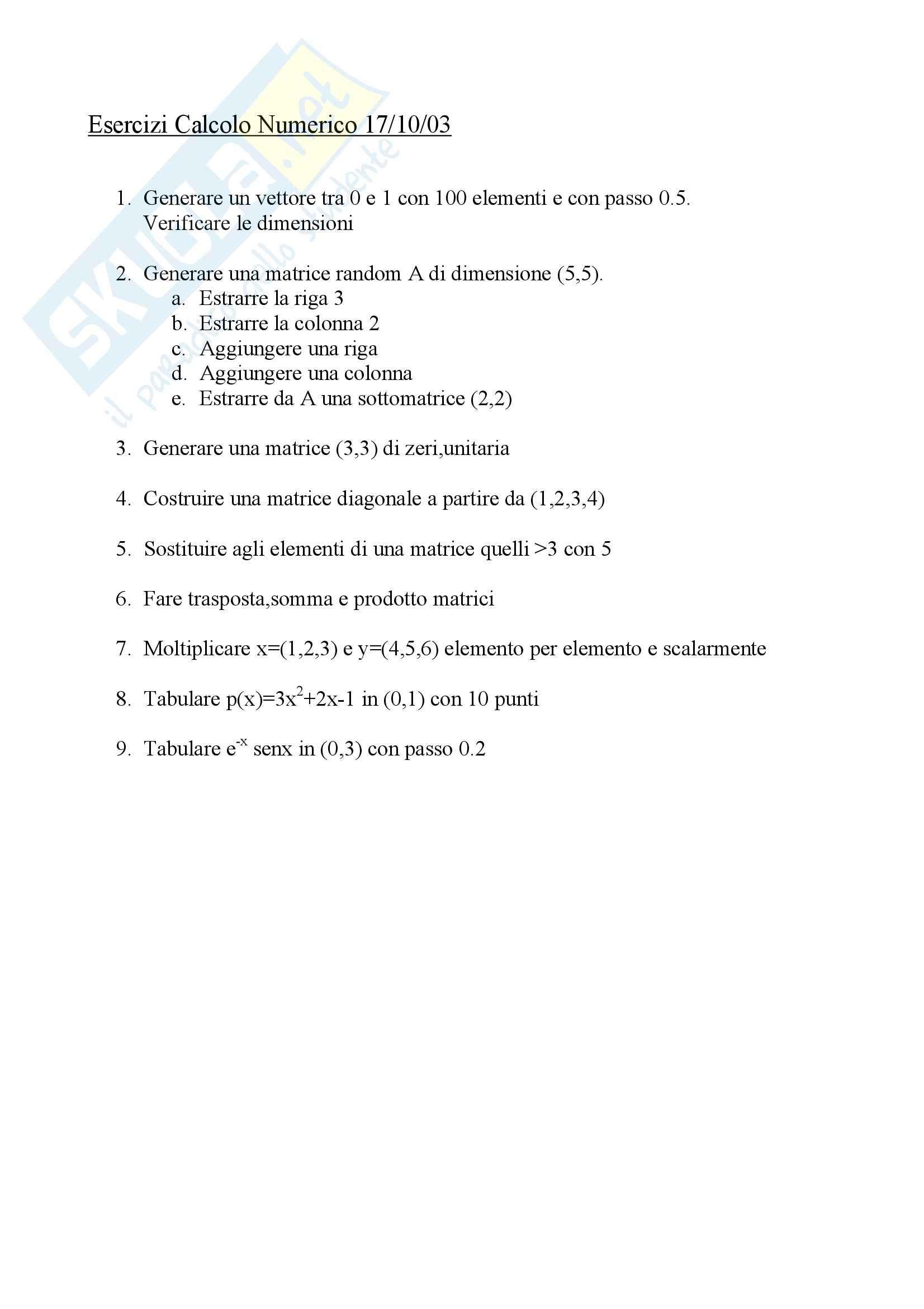 esercitazione A. D'Alessio Calcolo numerico