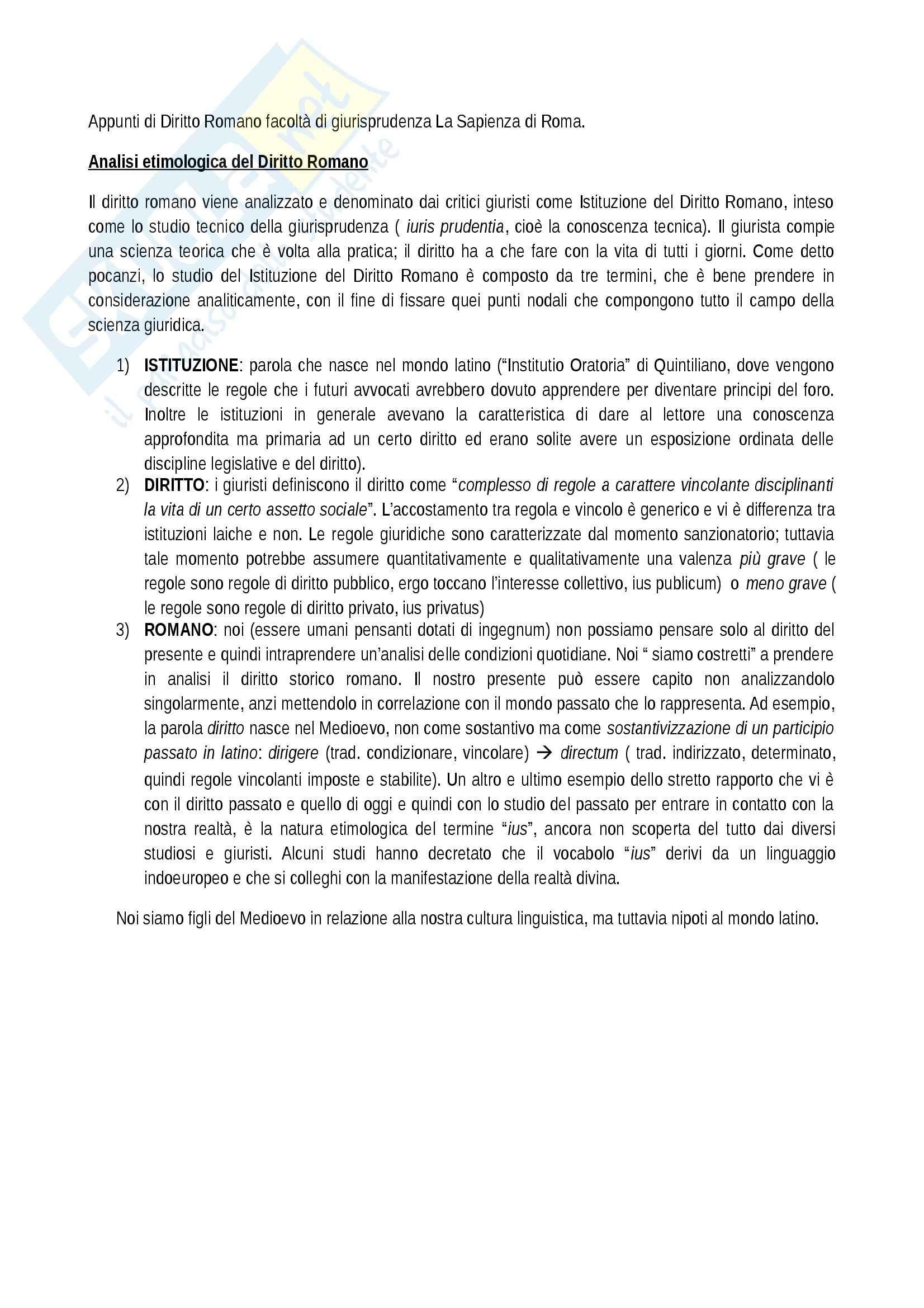 Etimologia del Diritto Romano