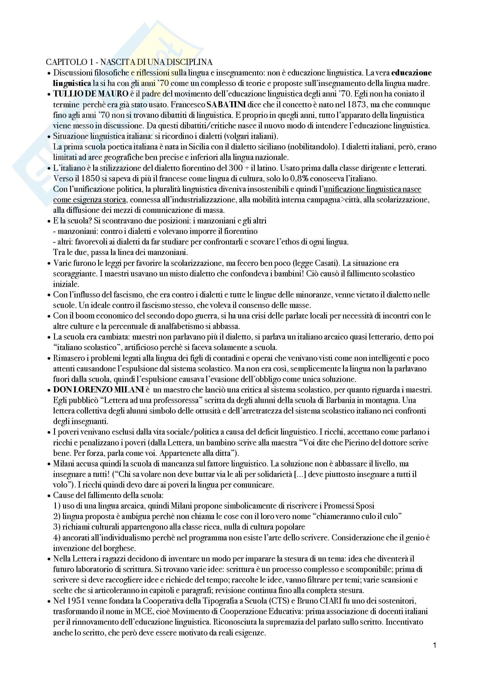 Riassunto esame Linguistica italiana, prof. Colussi, libro consigliato Lingua italiana ed educazione linguistica, Loduca