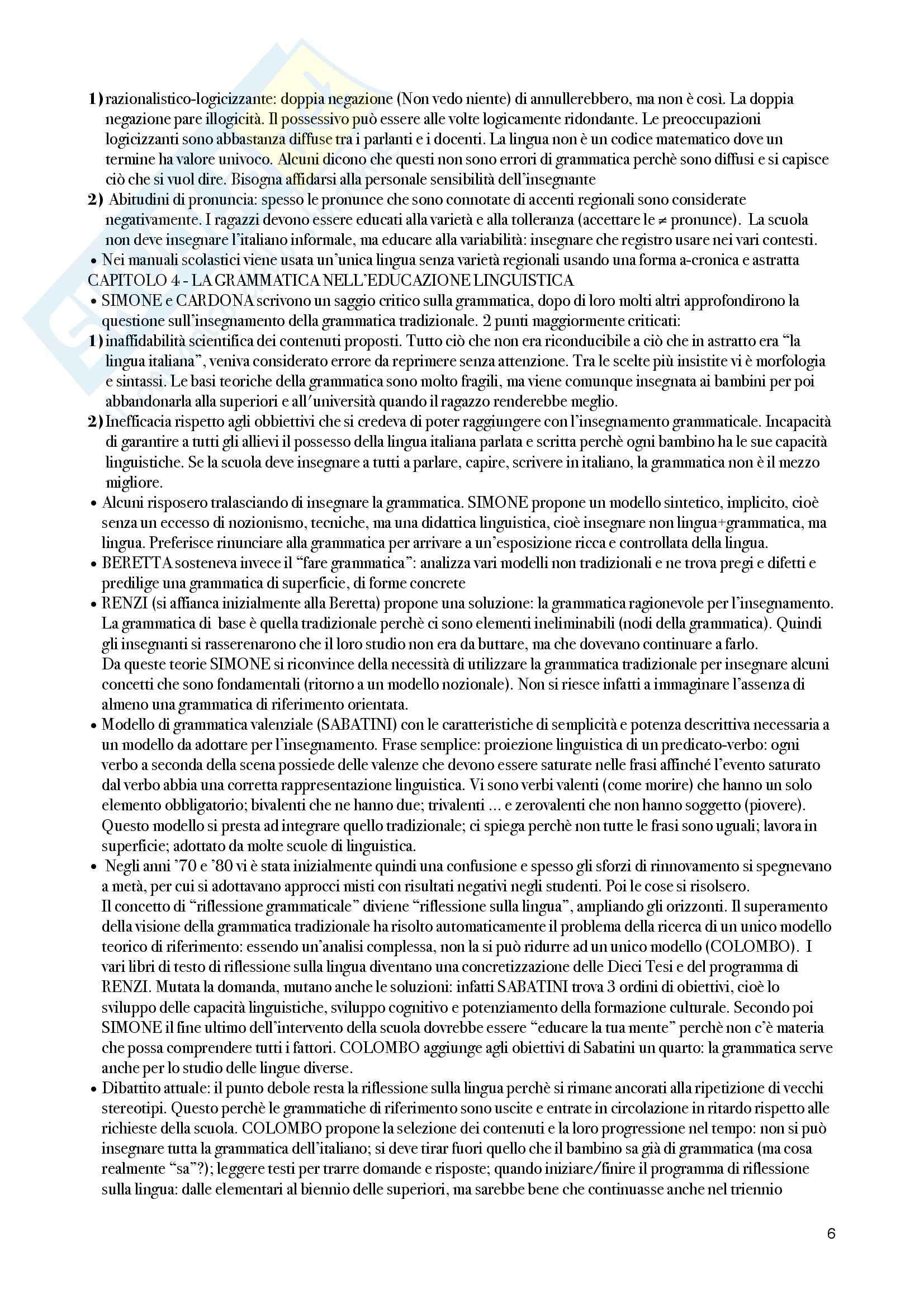 Riassunto esame Linguistica italiana, prof. Colussi, libro consigliato Lingua italiana ed educazione linguistica, Loduca Pag. 6