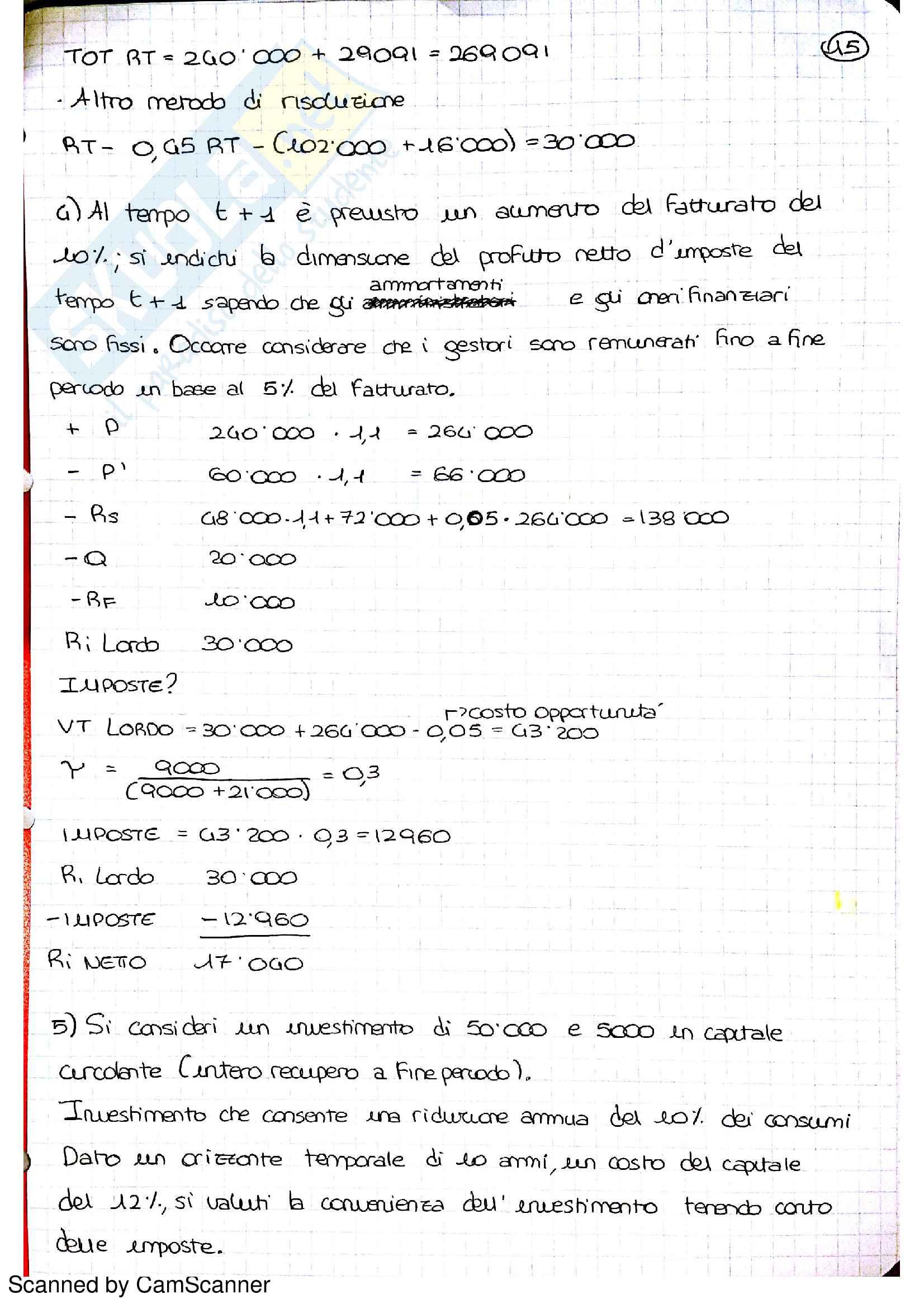 esercitazione G. Fraquelli Economia e gestione delle imprese