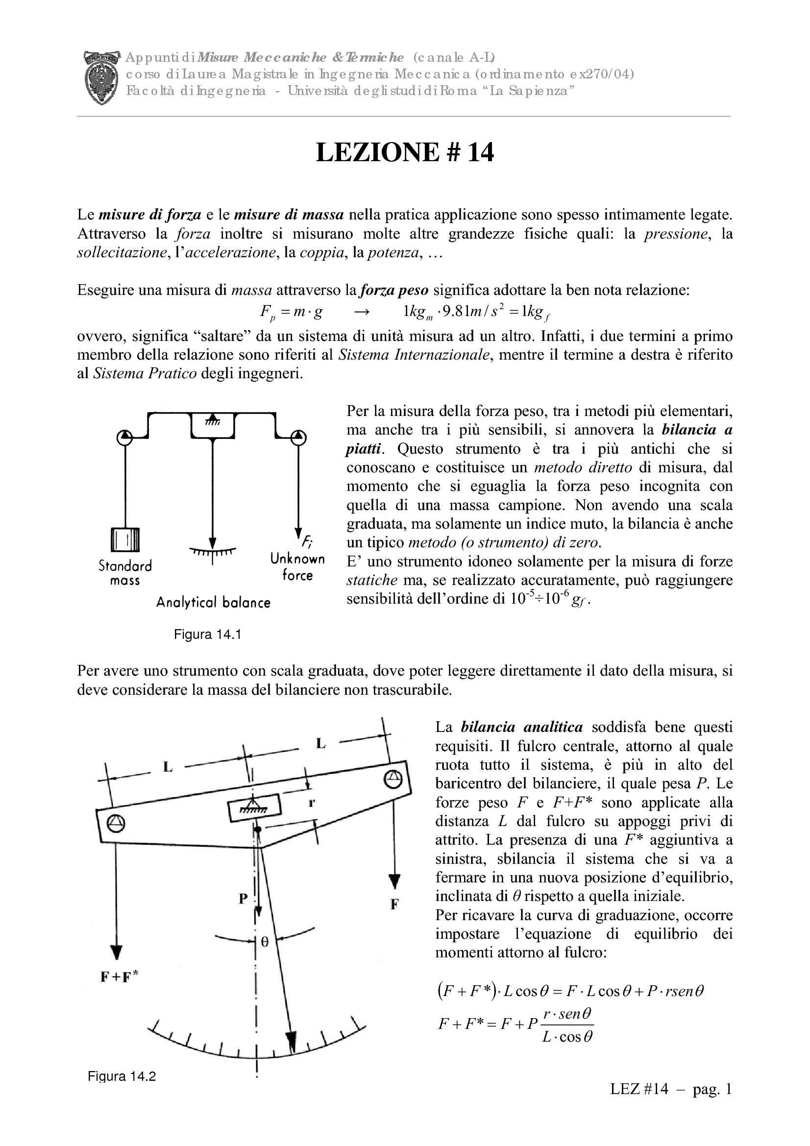 Misure della forza, della massa e della pressione
