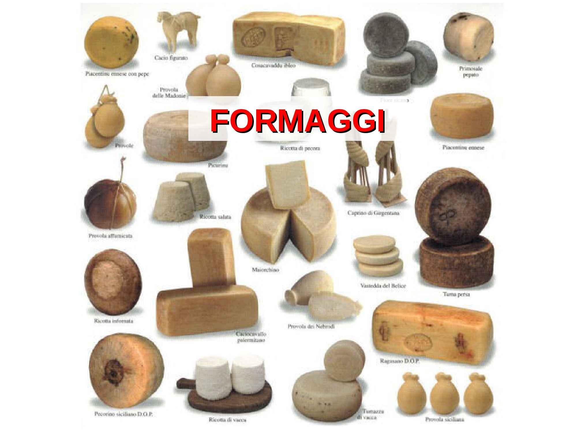 Formaggi - Composizione e caseificazione
