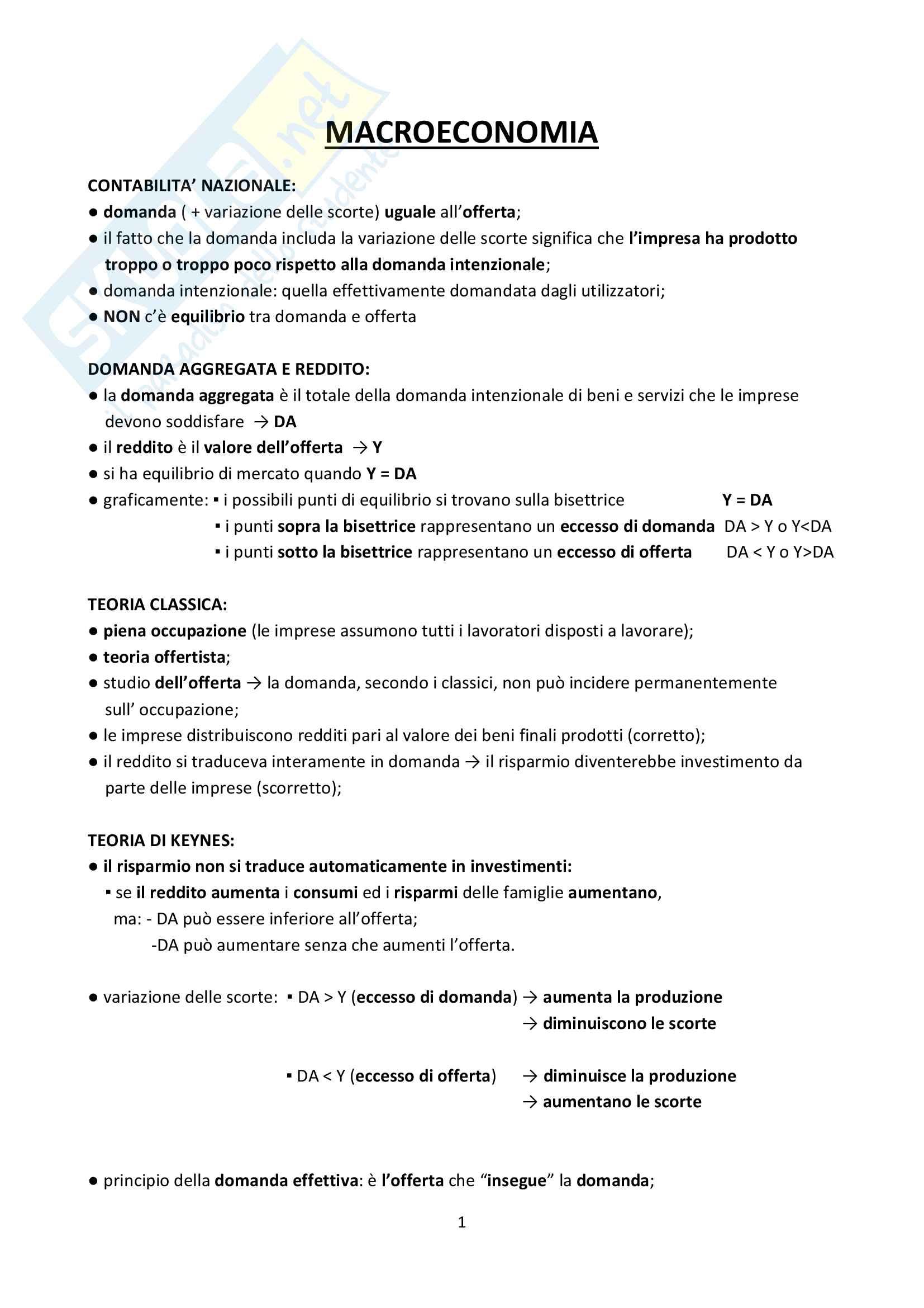 Riassunto esame Macroeconomia, Prof Luca Gori e Italo Lavanda, libro consigliato Principi di Macroeconomia, Capire una crisi di G. Rampa