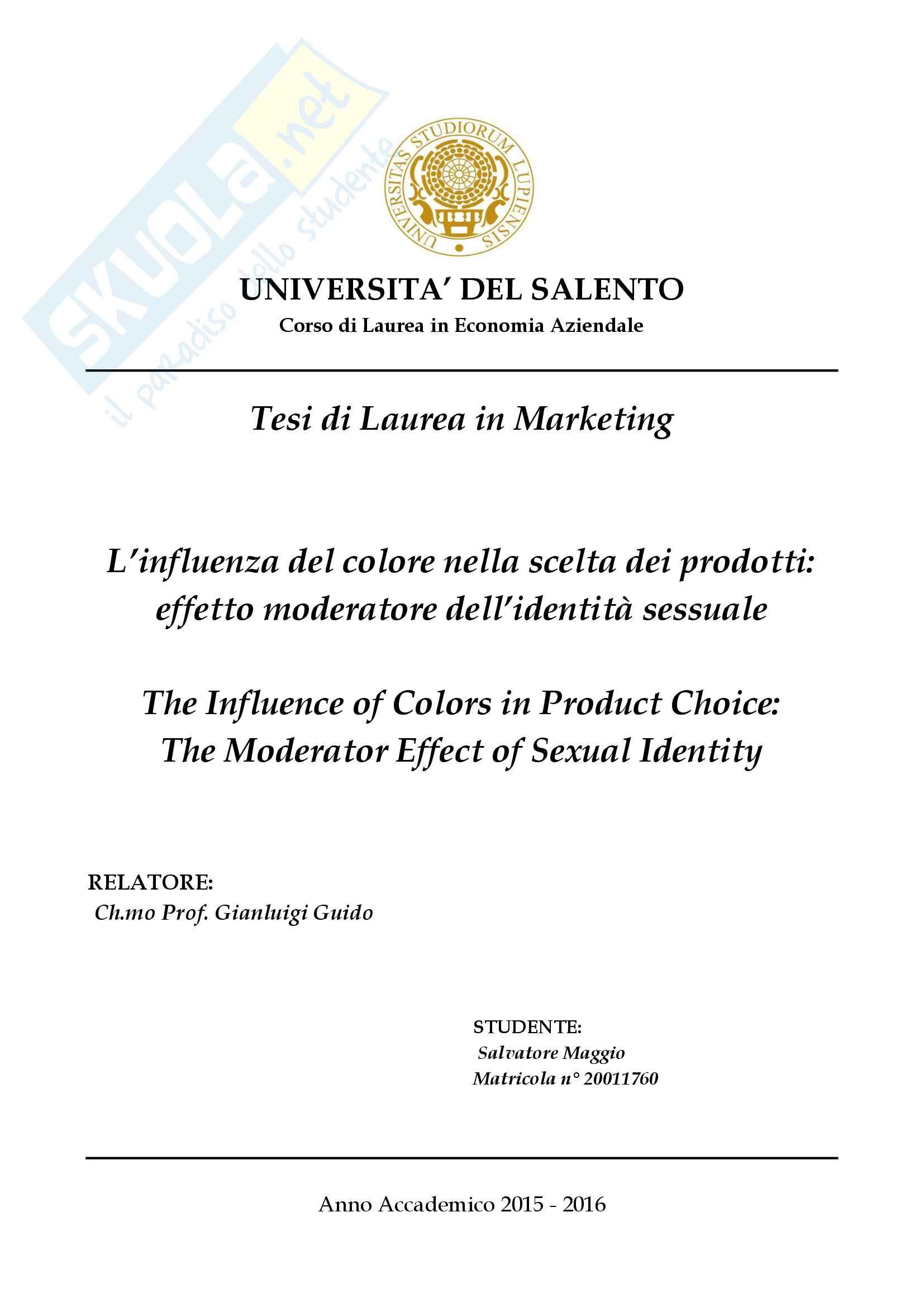 Tesi Marketing- L'influenza del colore nella scelta dei prodotti: effetto moderatore dell'identità sessuale