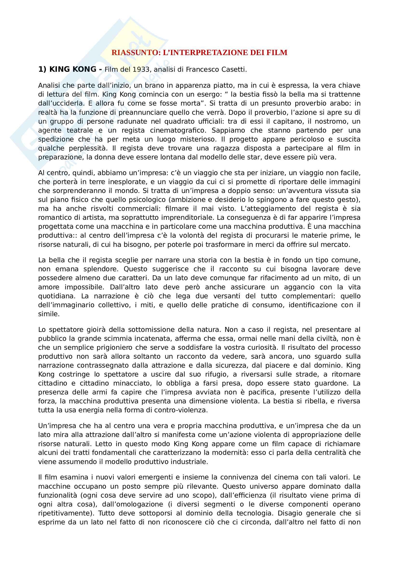 Riassunto esame analisi dei film, prof. Di Donato, libro consigliato Interpretazione dei film, Bernardi