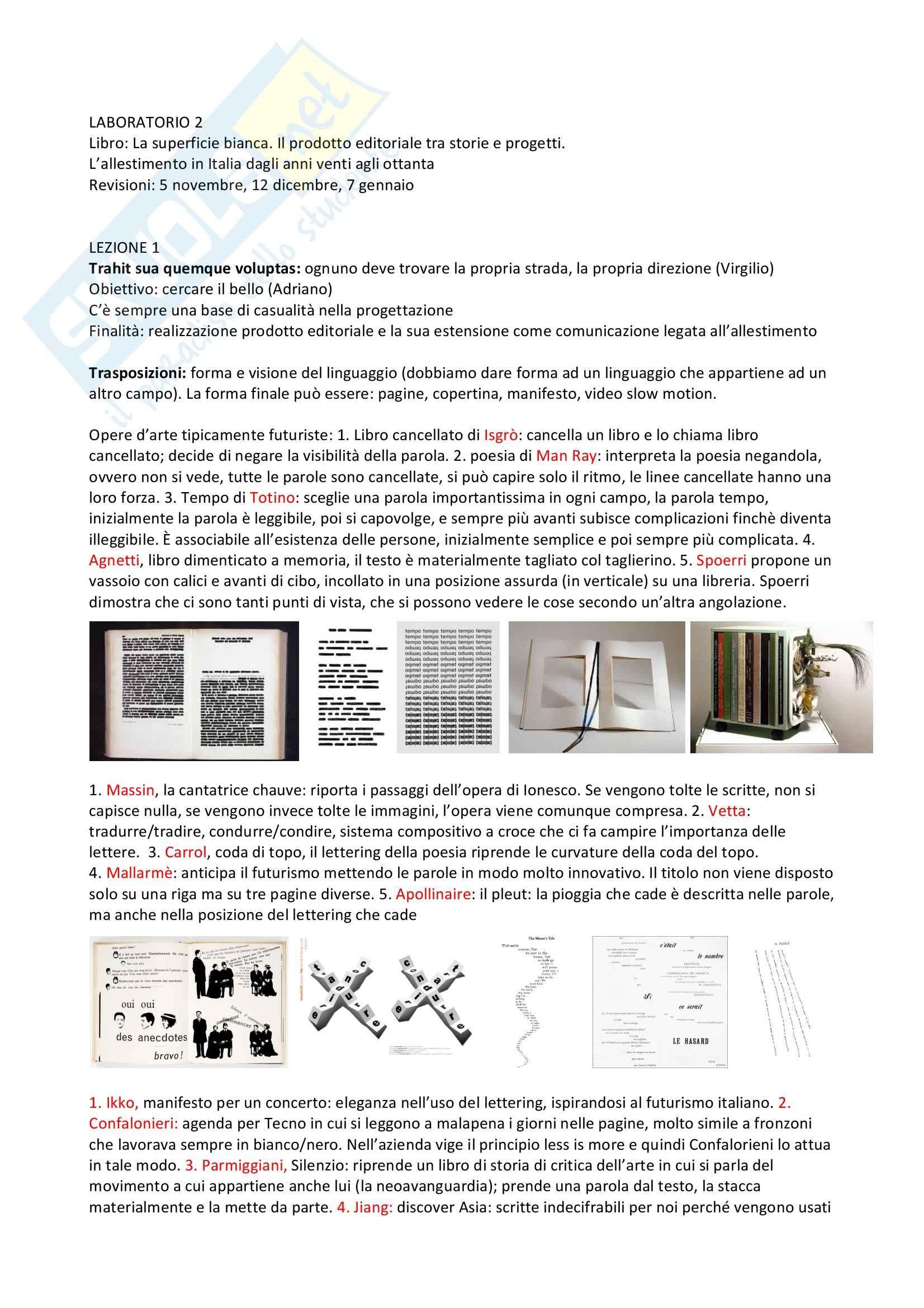 Lezioni, Laboratorio progettuale grafico-pubblicitario e di comunicazione