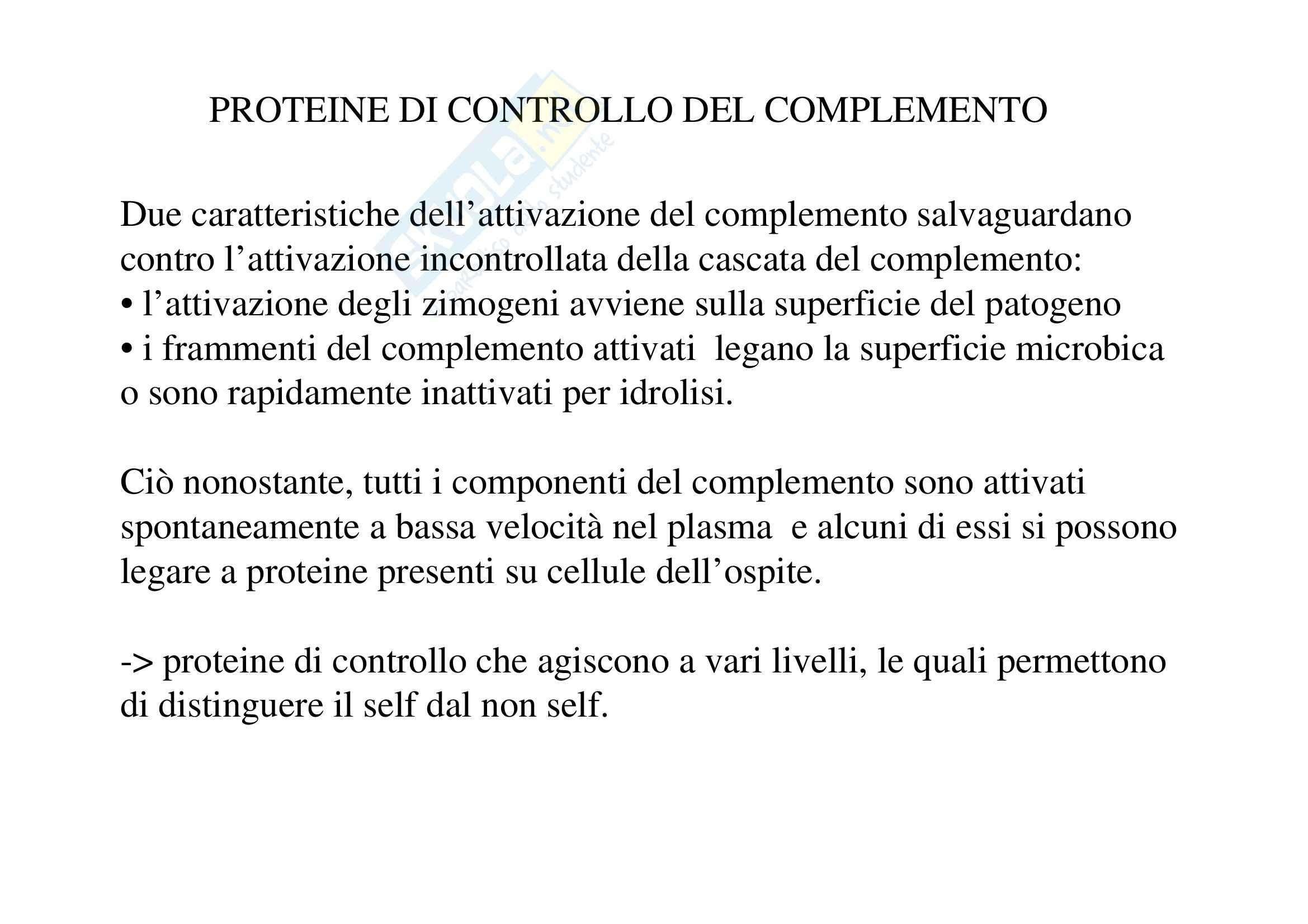 Immunologia - proteine di controllo del complemento